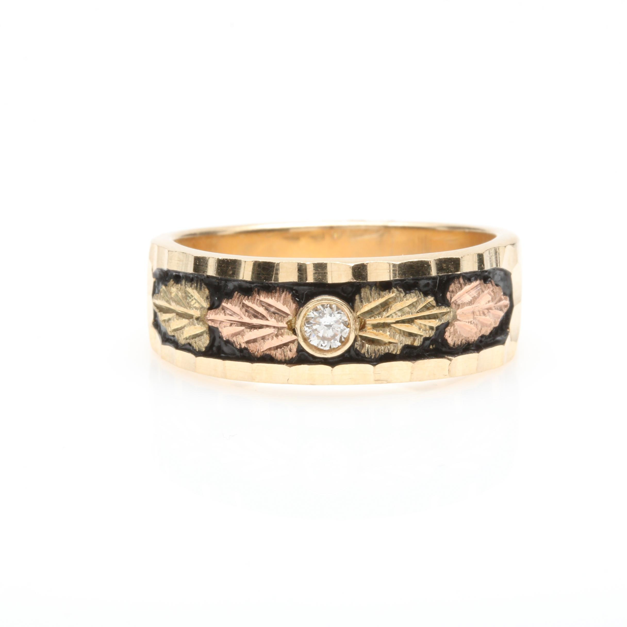 Black Hills Landstrom 10K Yellow Gold Diamond Ring With Rose Gold Accents
