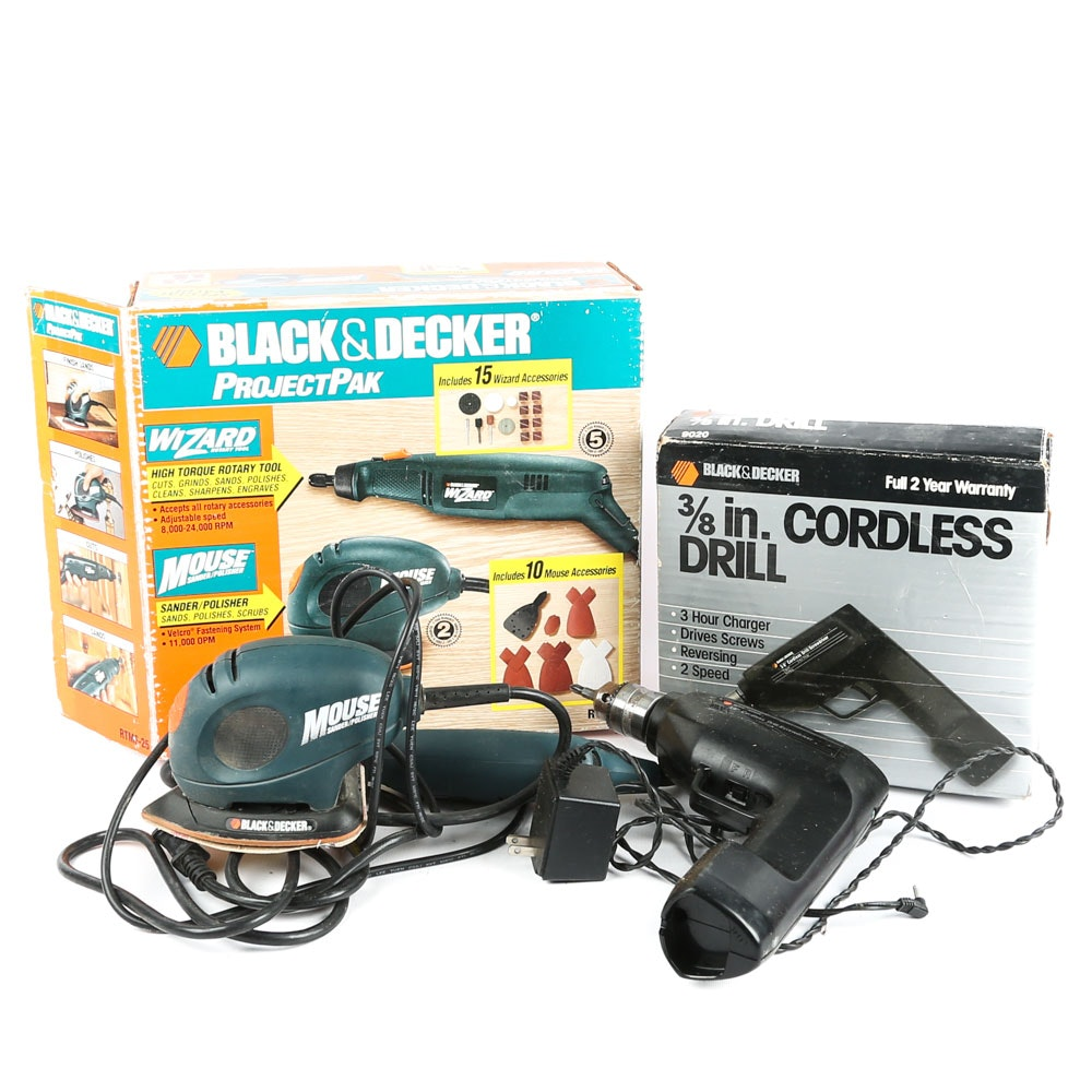 Black+Decker Drill, Palm Sander, and Rotary Tool