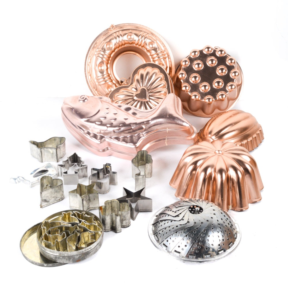 Collection of Copper Molds and Vintage Cookie Cutters