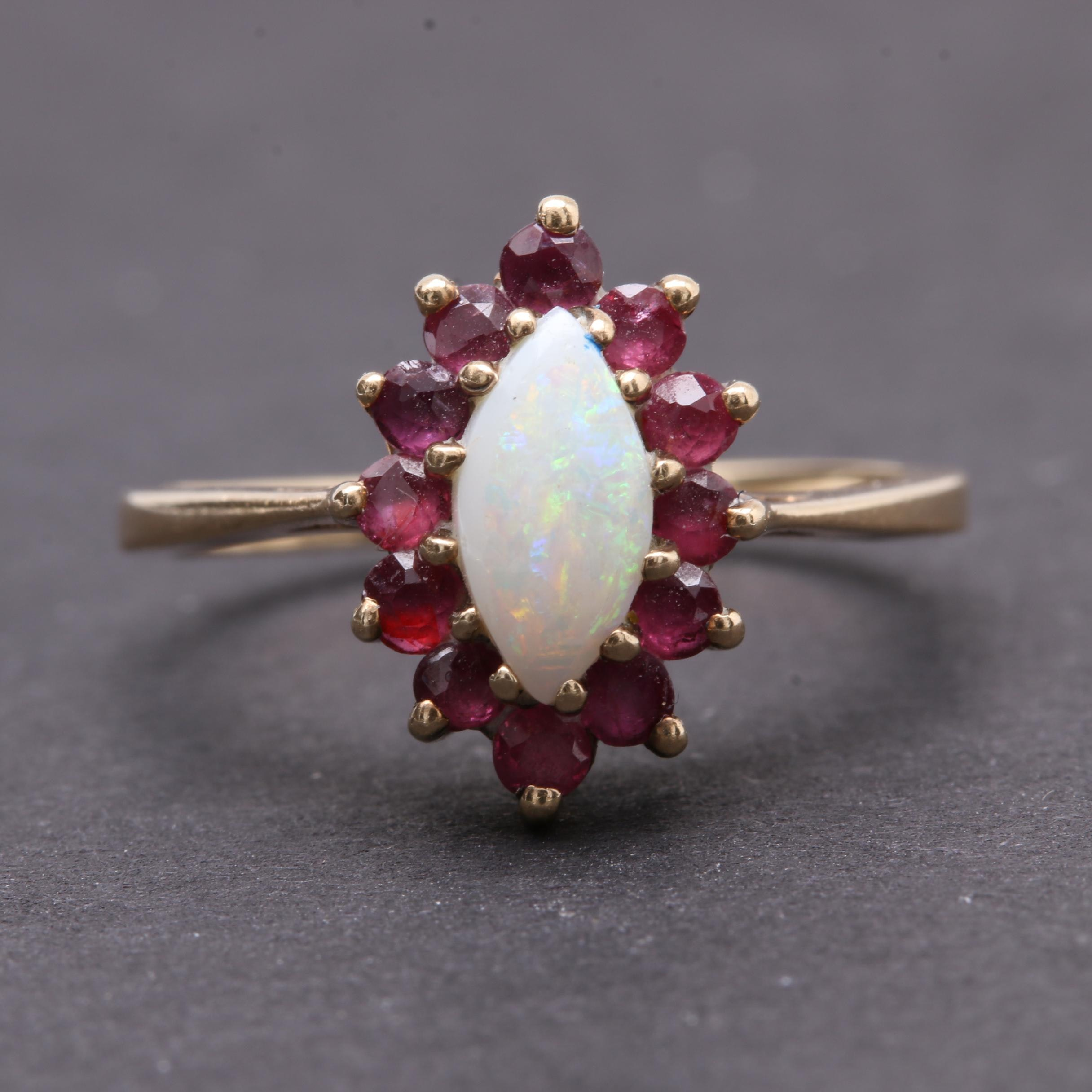 10K Yellow Gold Opal and Ruby Ring