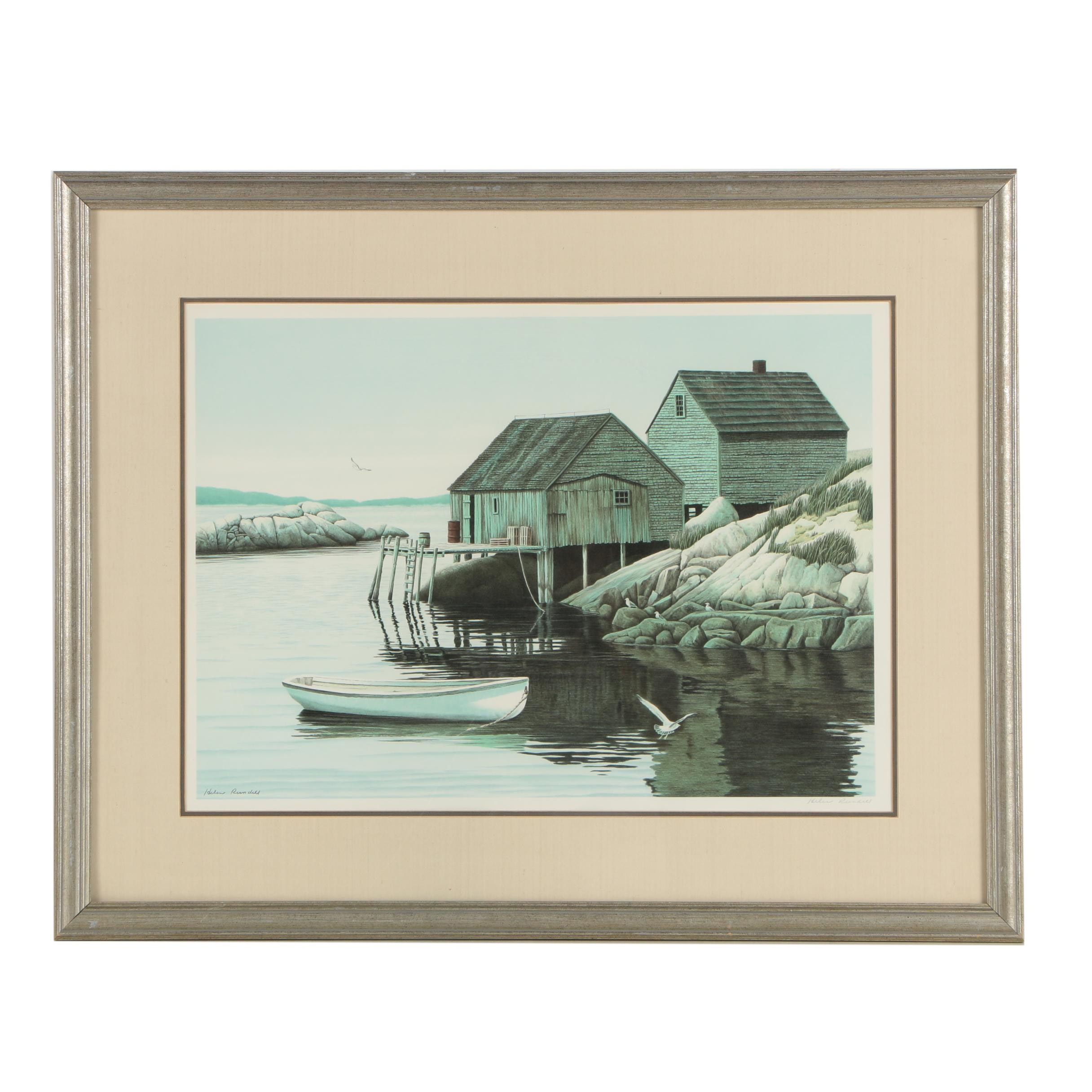 "Helen Rundell Color Lithograph ""Morning At Peggy's Cove"""
