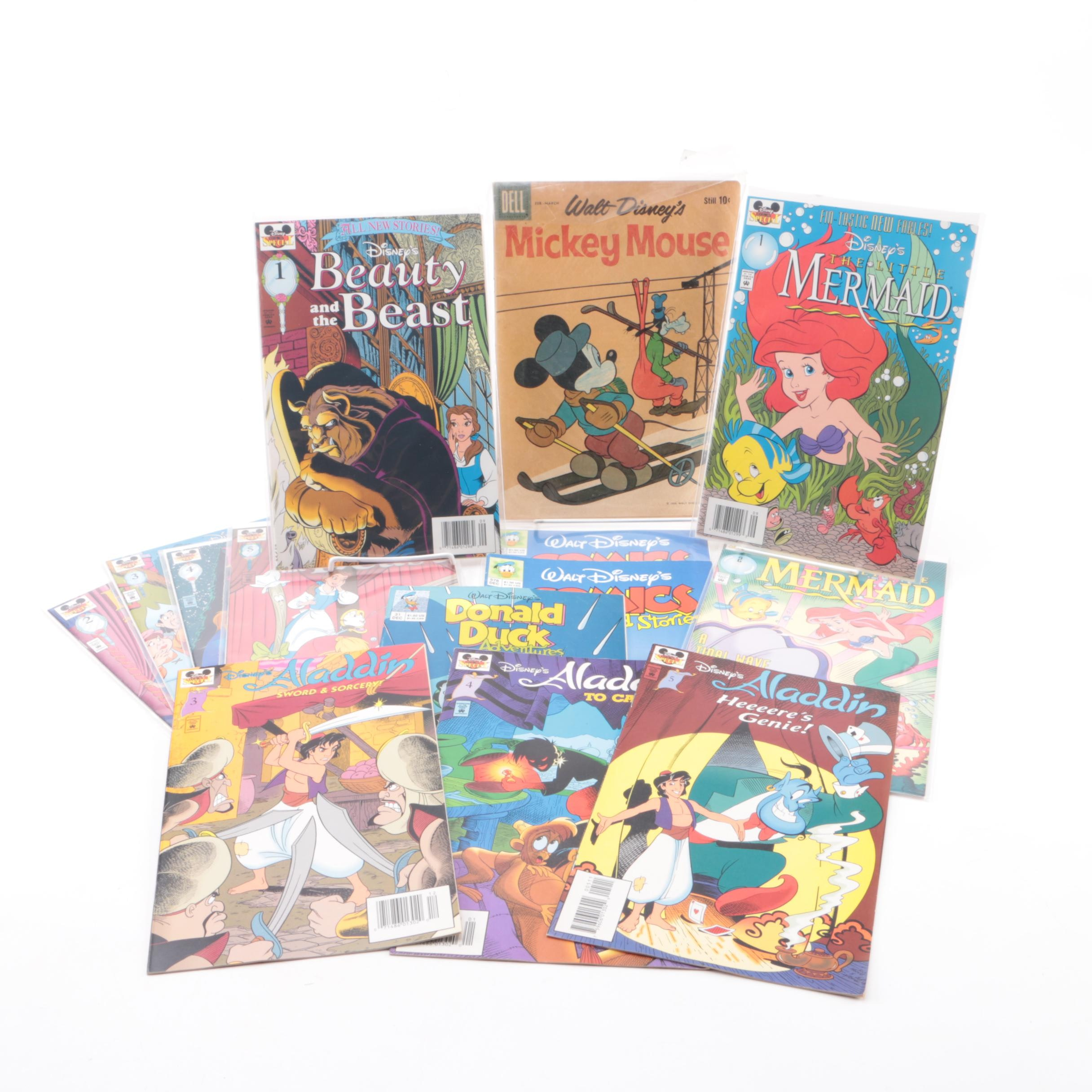 """Assorted Disney-Themed Comics Including """"Aladdin"""" and """"Mickey Mouse"""""""