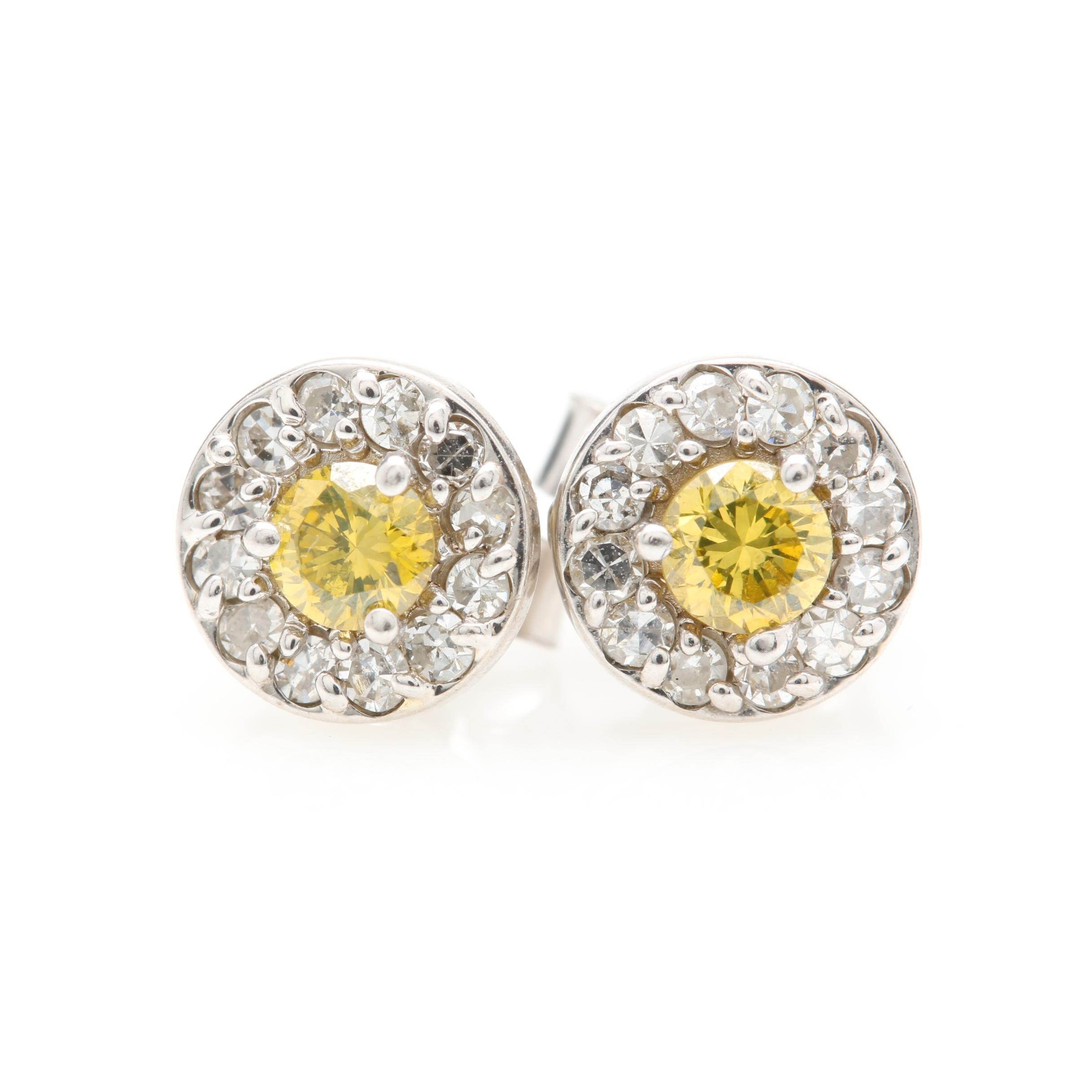 14K White Gold Yellow Diamond and Diamond Earrings