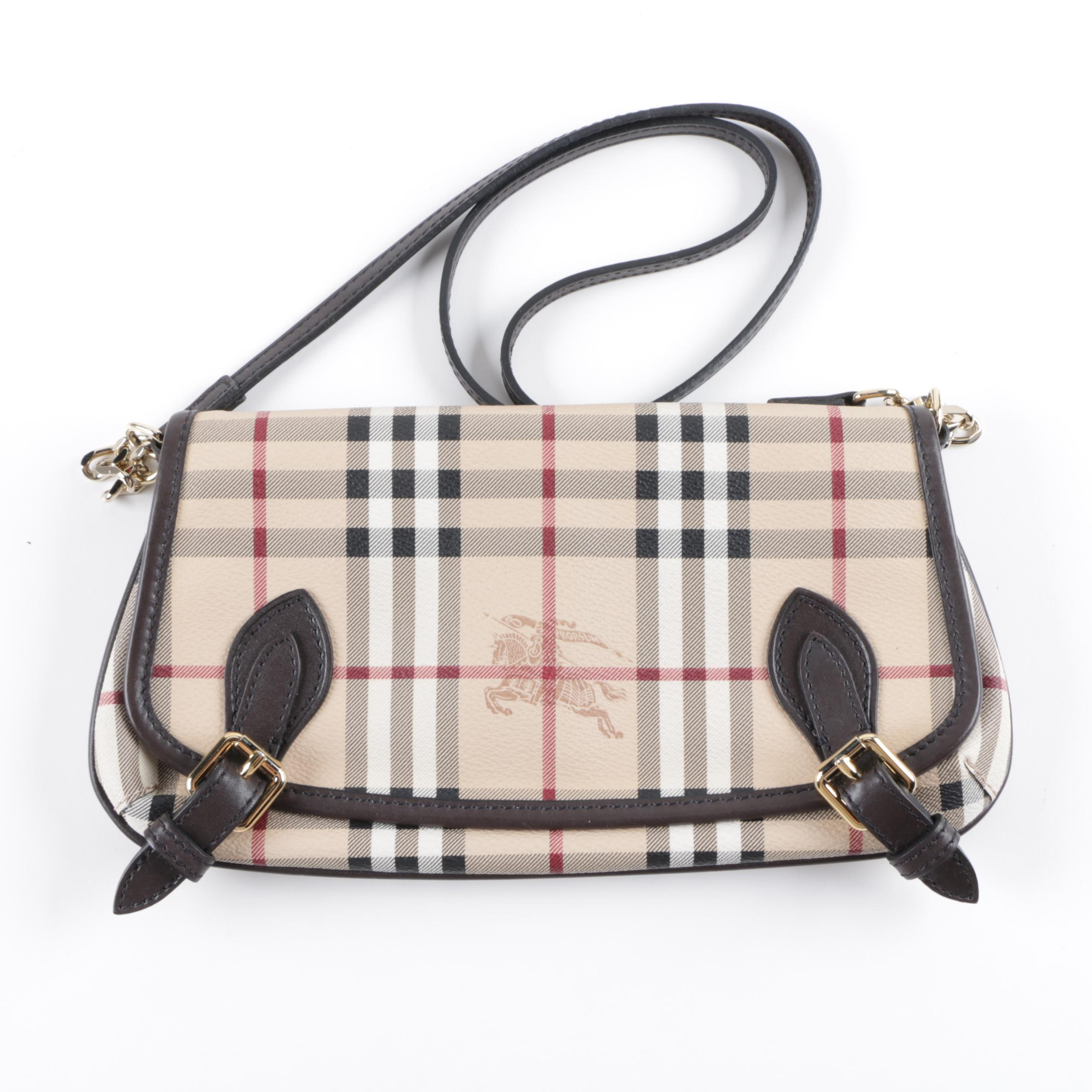 Burberry Haymarket Check Coated Canvas and Leather Messenger Bag