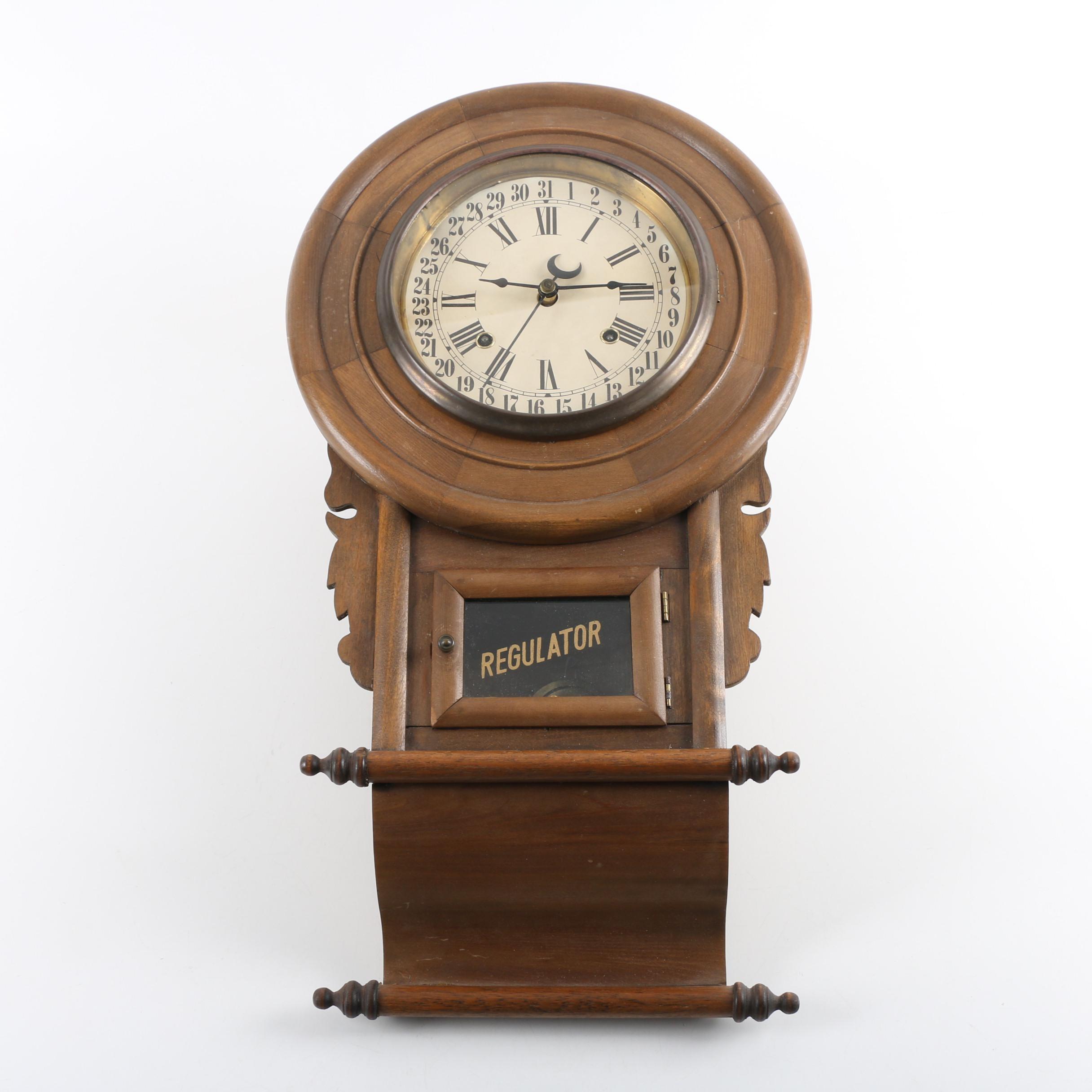 Early 20th Century English Style Regulator Wall Clock