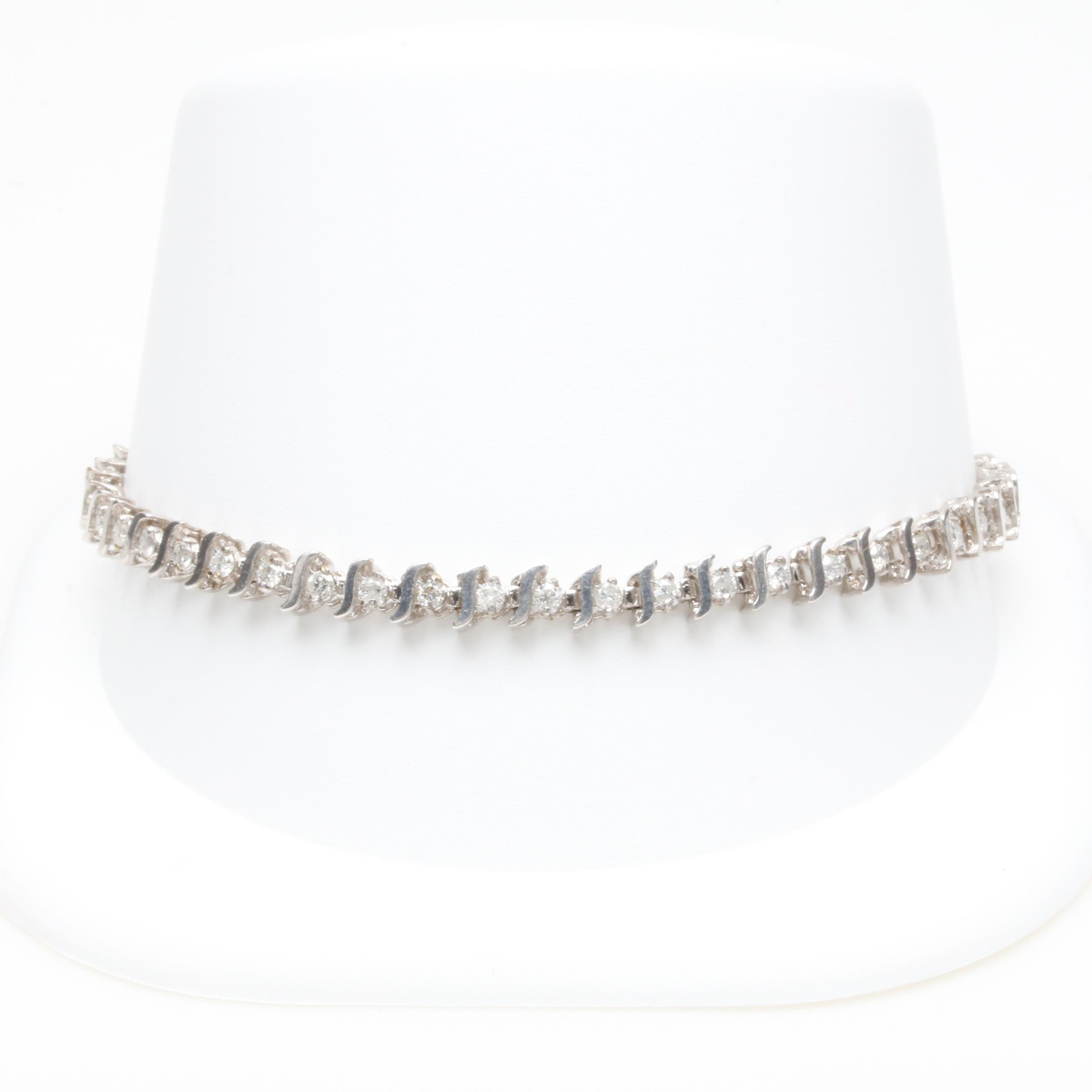 10K White Gold 1.45 CTW Diamond Tennis Bracelet