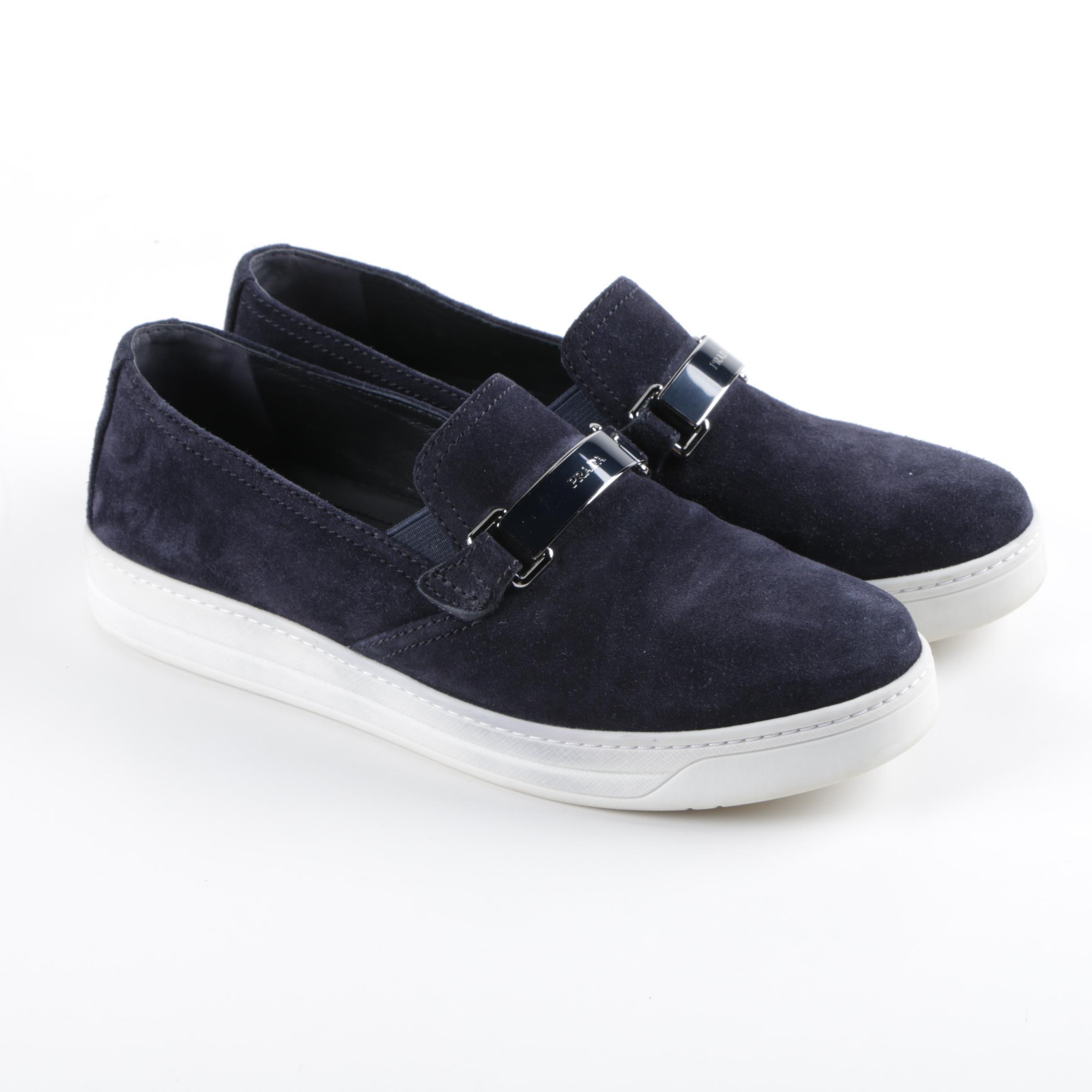 Women's Prada Blue Suede Sneakers