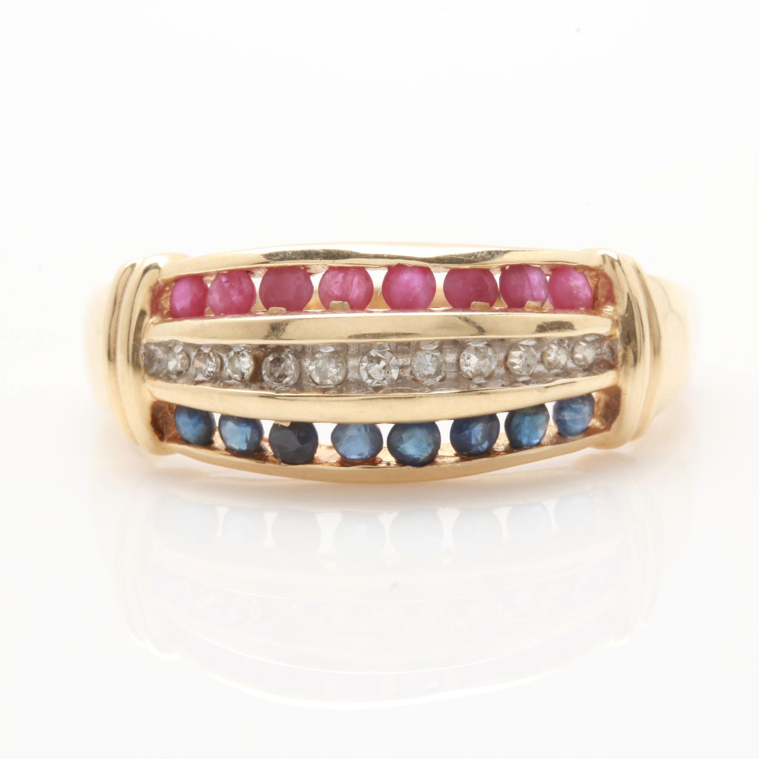 Alwand Vahan 14K Yellow Gold Diamond, Ruby and Sapphire Ring