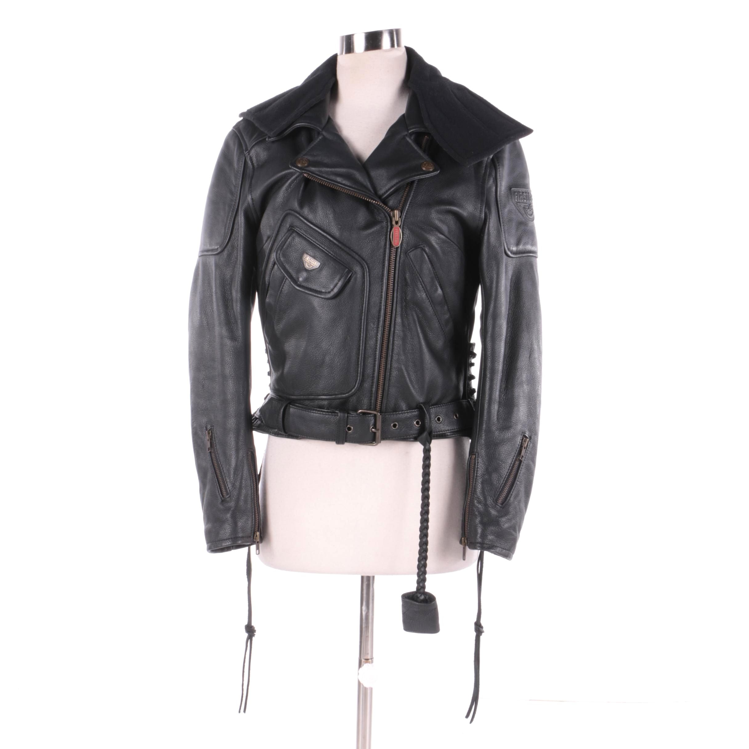 Women's Firstgear Black Leather Motorcycle Jacket
