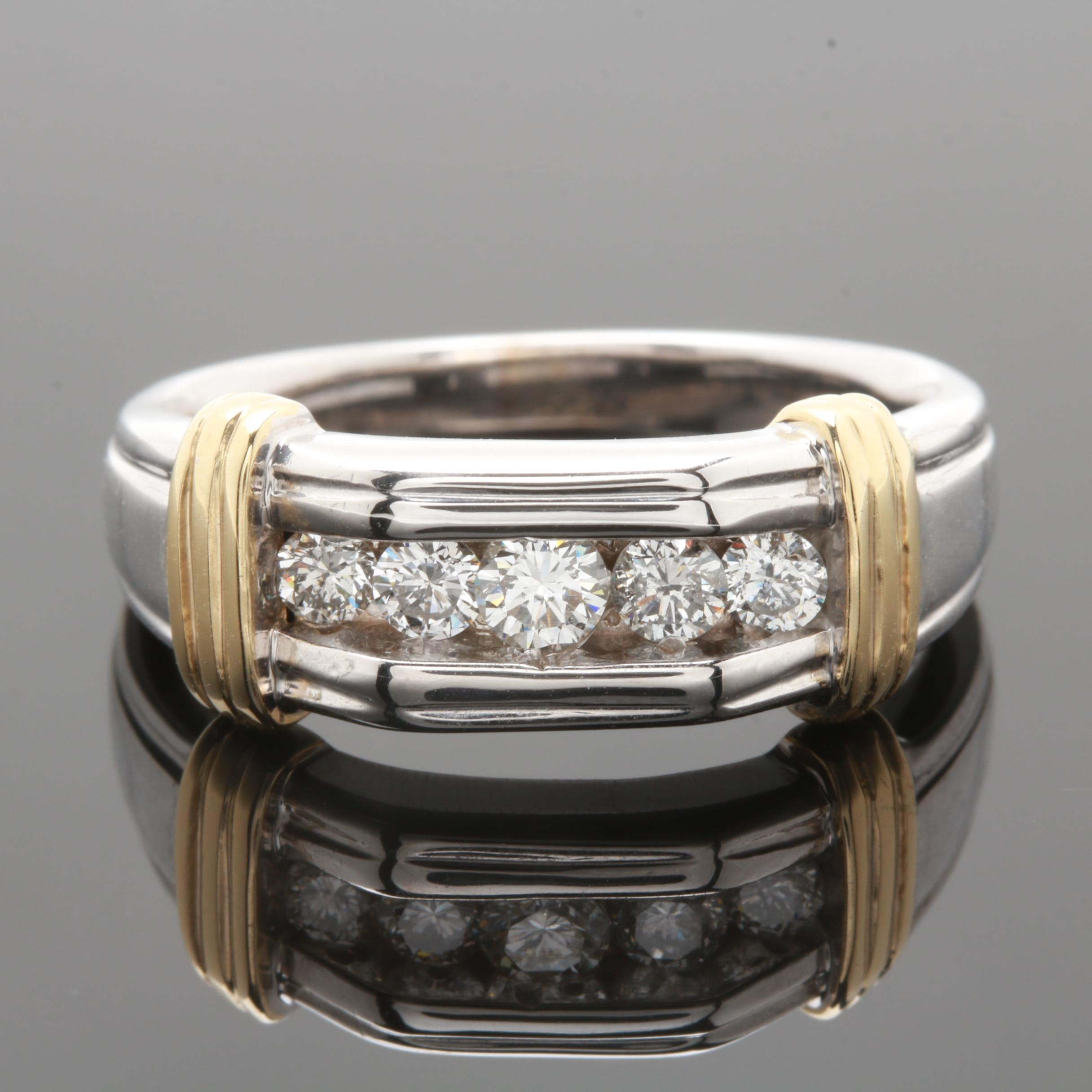 14K White Gold Diamond Channel Band with Yellow Gold Accents