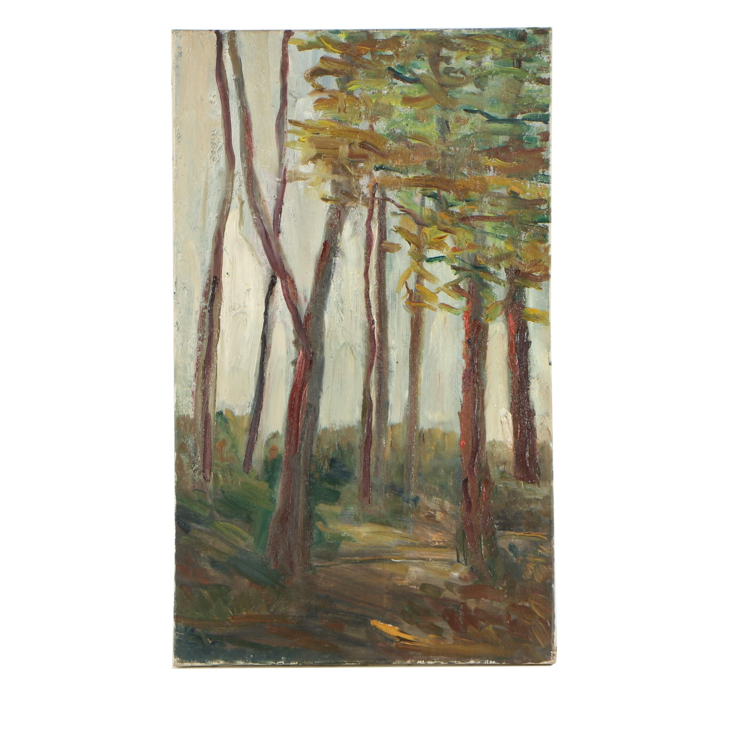 Oil Painting of a Grove of Trees