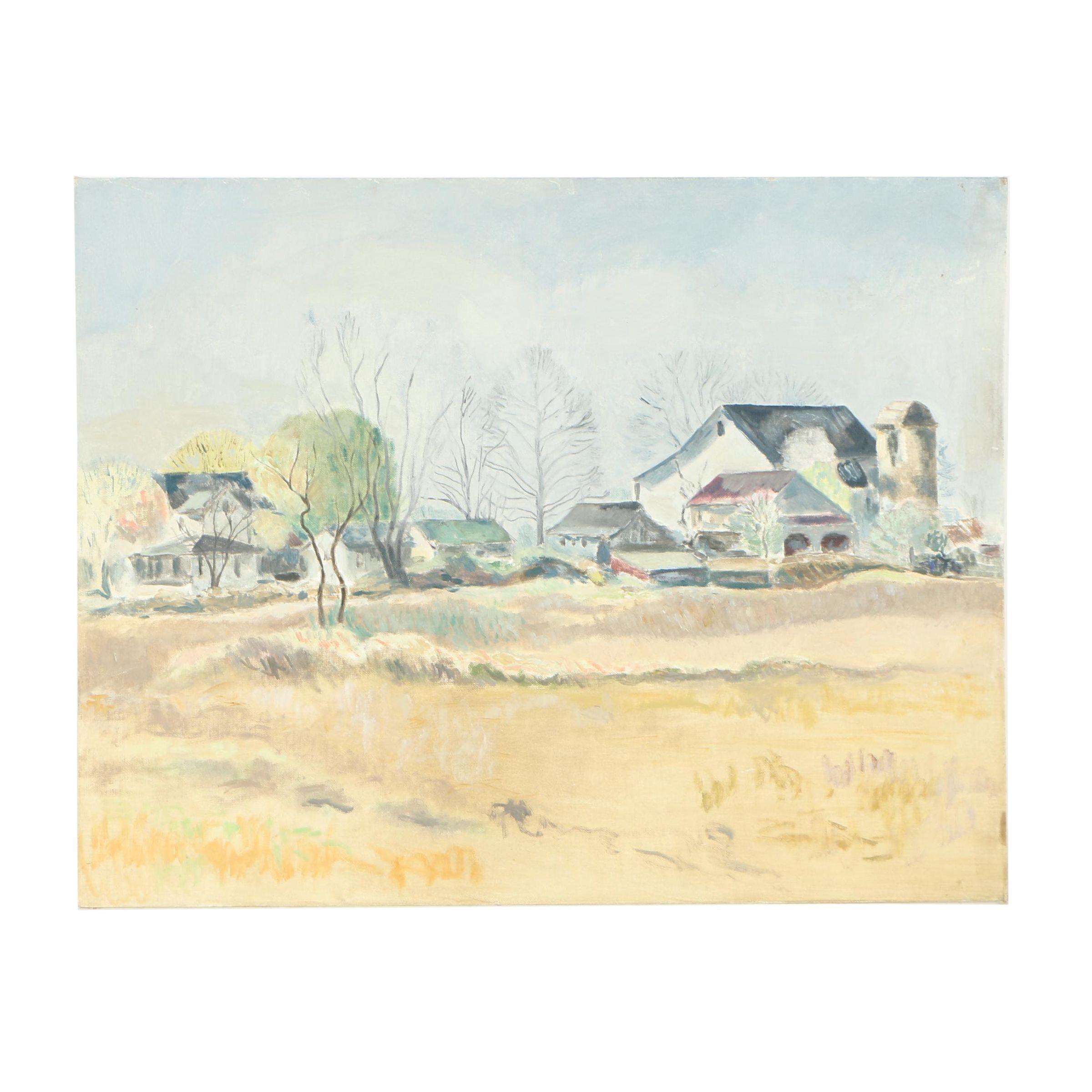 H. Wentz Oil Painting of Rural Community