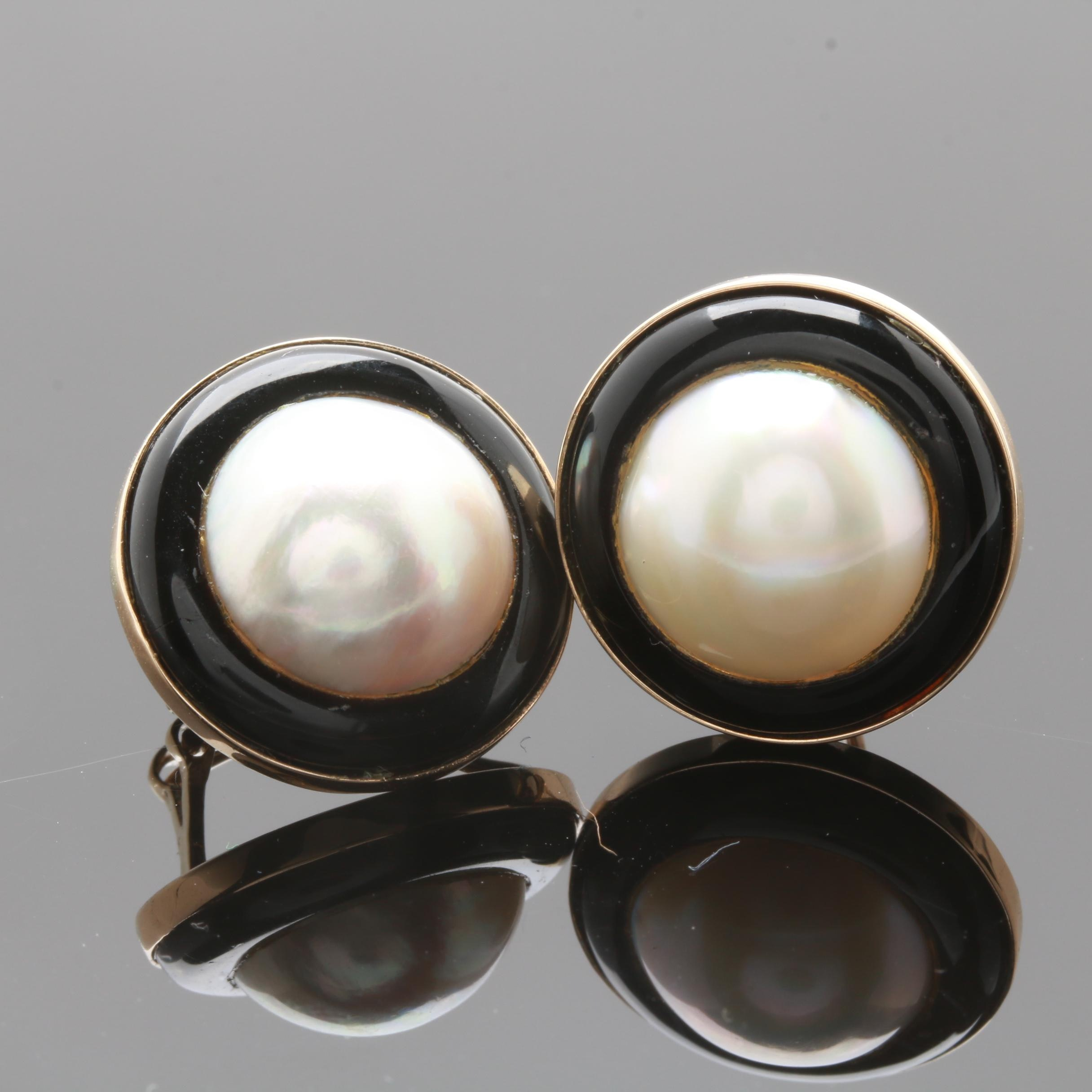 14K Yellow Gold Cultured Mabé Pearl and Imitation Black Onyx Earrings