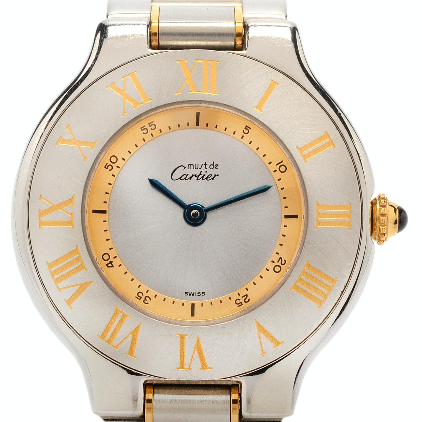 "Cartier ""Must de Cartier"" Two Tone Steel Quartz Wristwatch"
