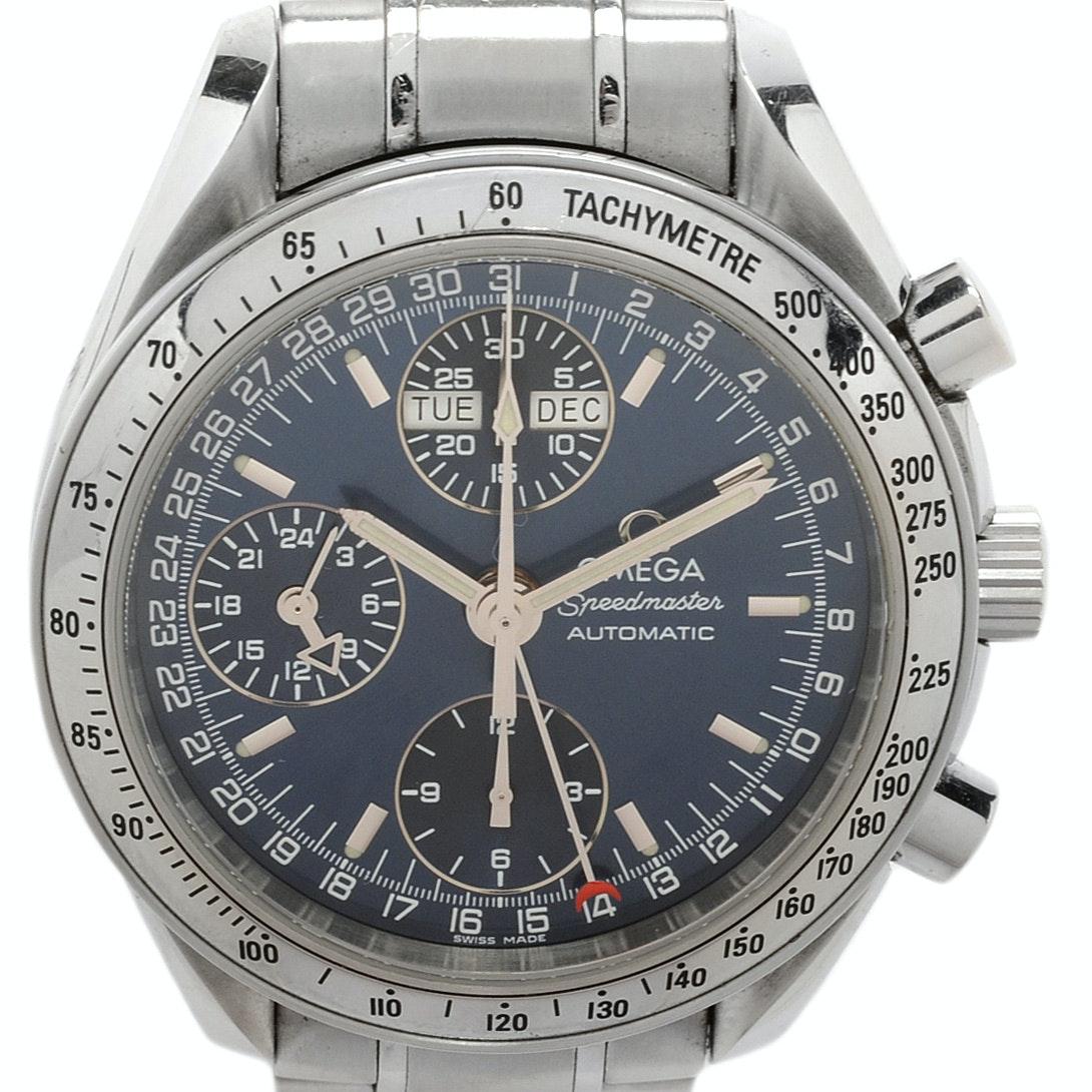 Omega Speedmaster Chronograph Triple Calendar Steel Automatic Wristwatch
