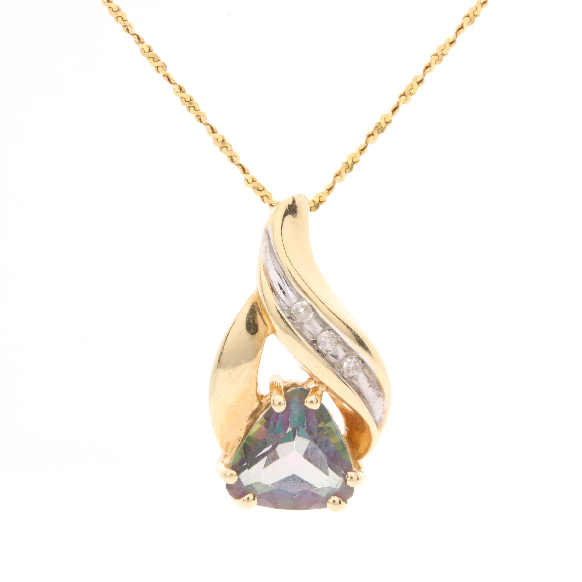 10K and 14K Yellow Gold Mystic Topaz and Diamond Pendant Necklace