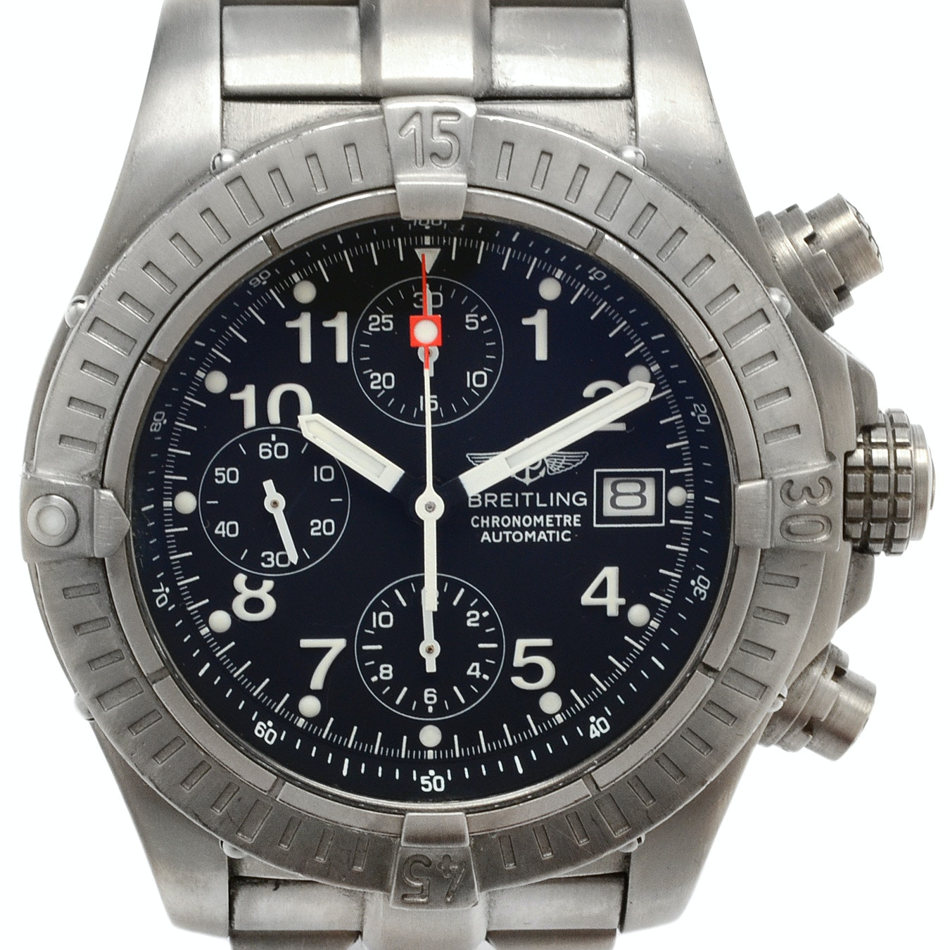"Breitling ""Avenger"" Chronograph Titanium Black Automatic Wristwatch"