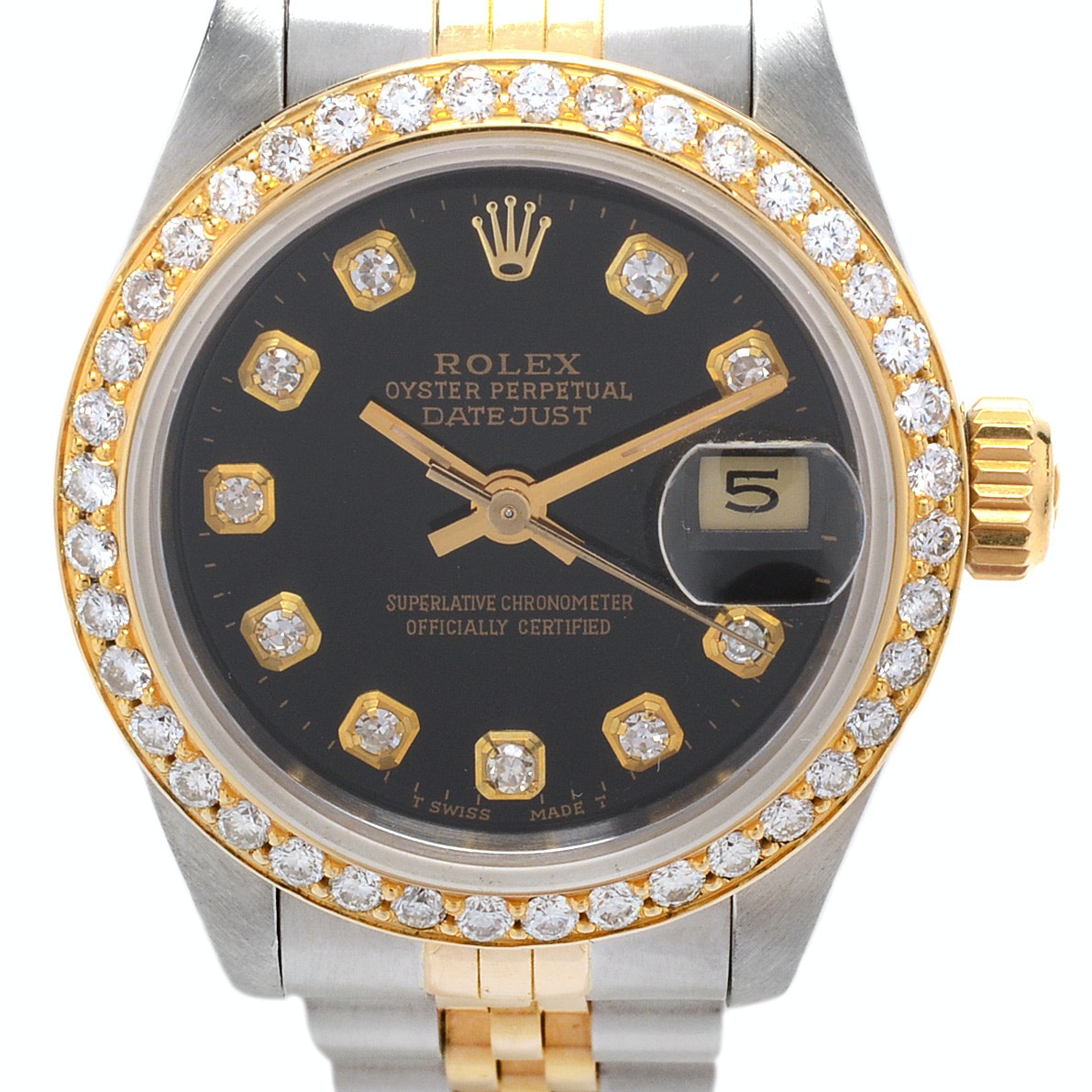 Rolex Datejust 18K Gold and Steel Diamond Bezel Automatic Wristwatch