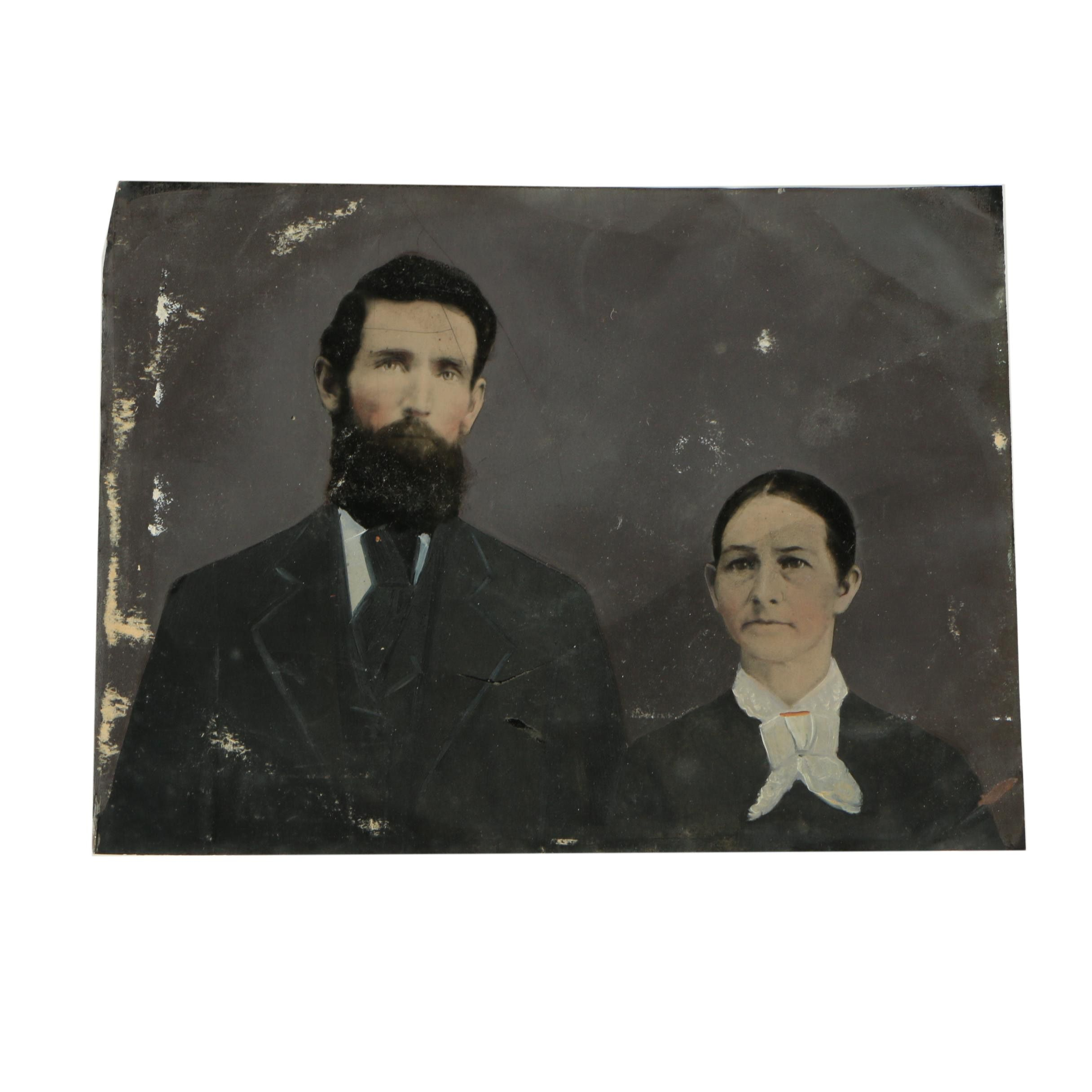 Antique 19th-Century Hand-Embellished Tintype Portrait of Couple