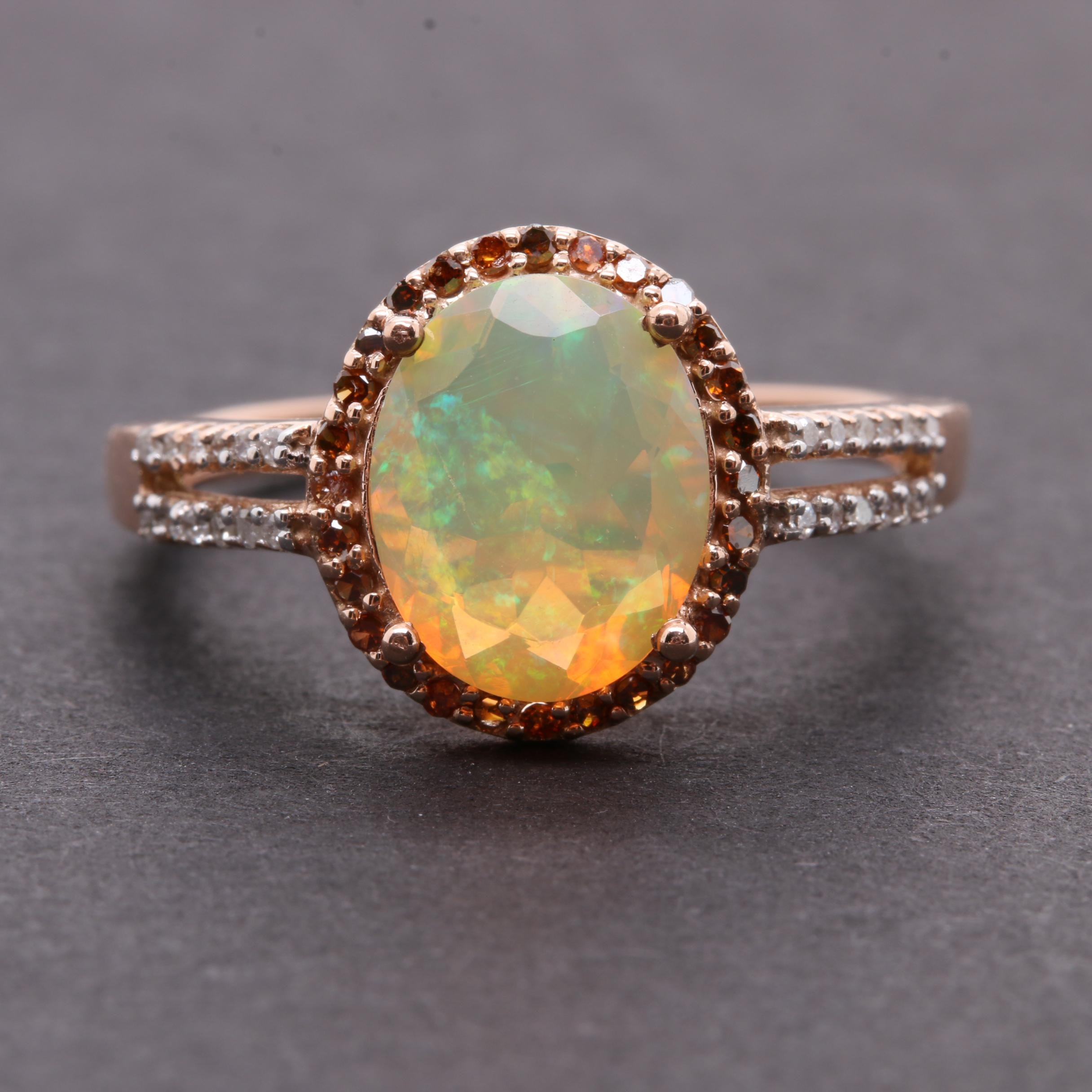 10K Rose Gold Opal and Diamond Ring