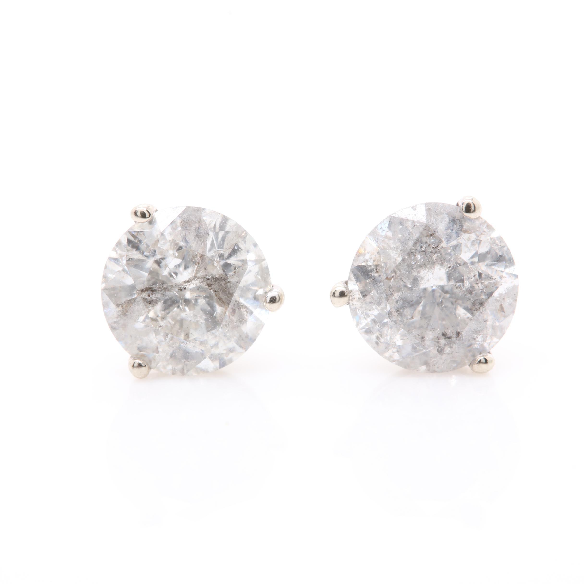 14K White Gold 1.07 CTW Diamond Stud Earrings