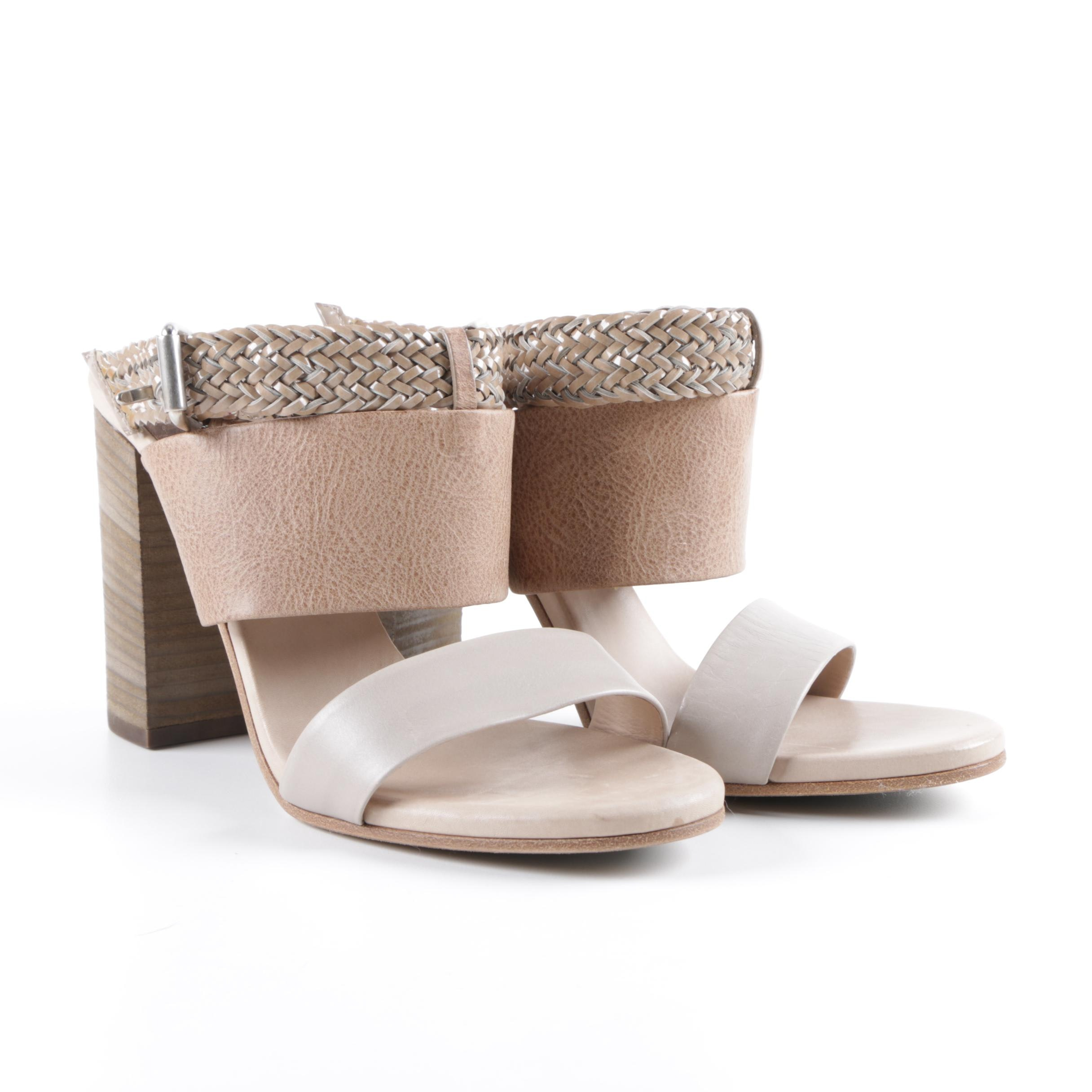 Brunello Cucinelli Brown Taupe Rope and Leather Heeled Sandals, Made in Italy