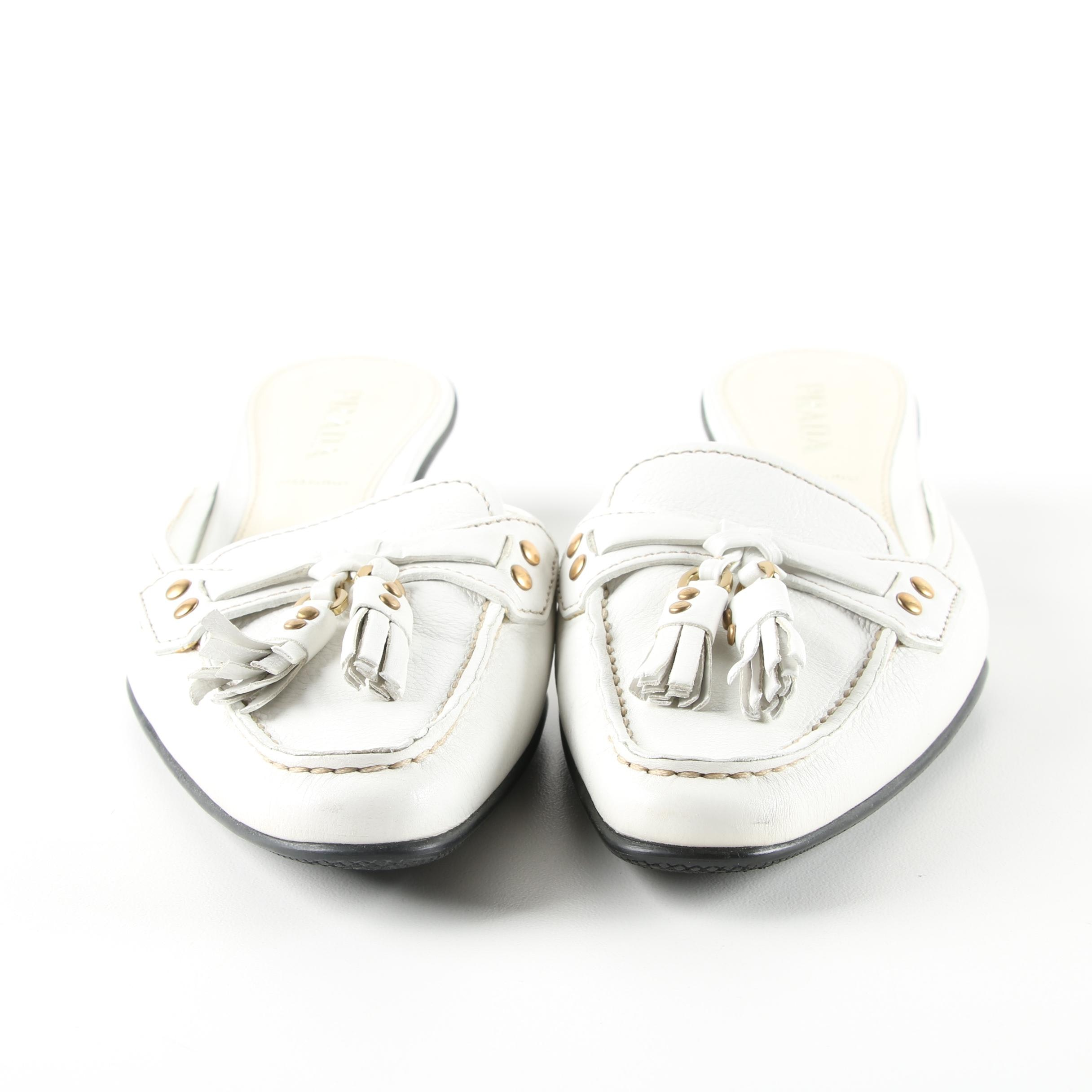 Prada White Leather Mules, Made in Italy