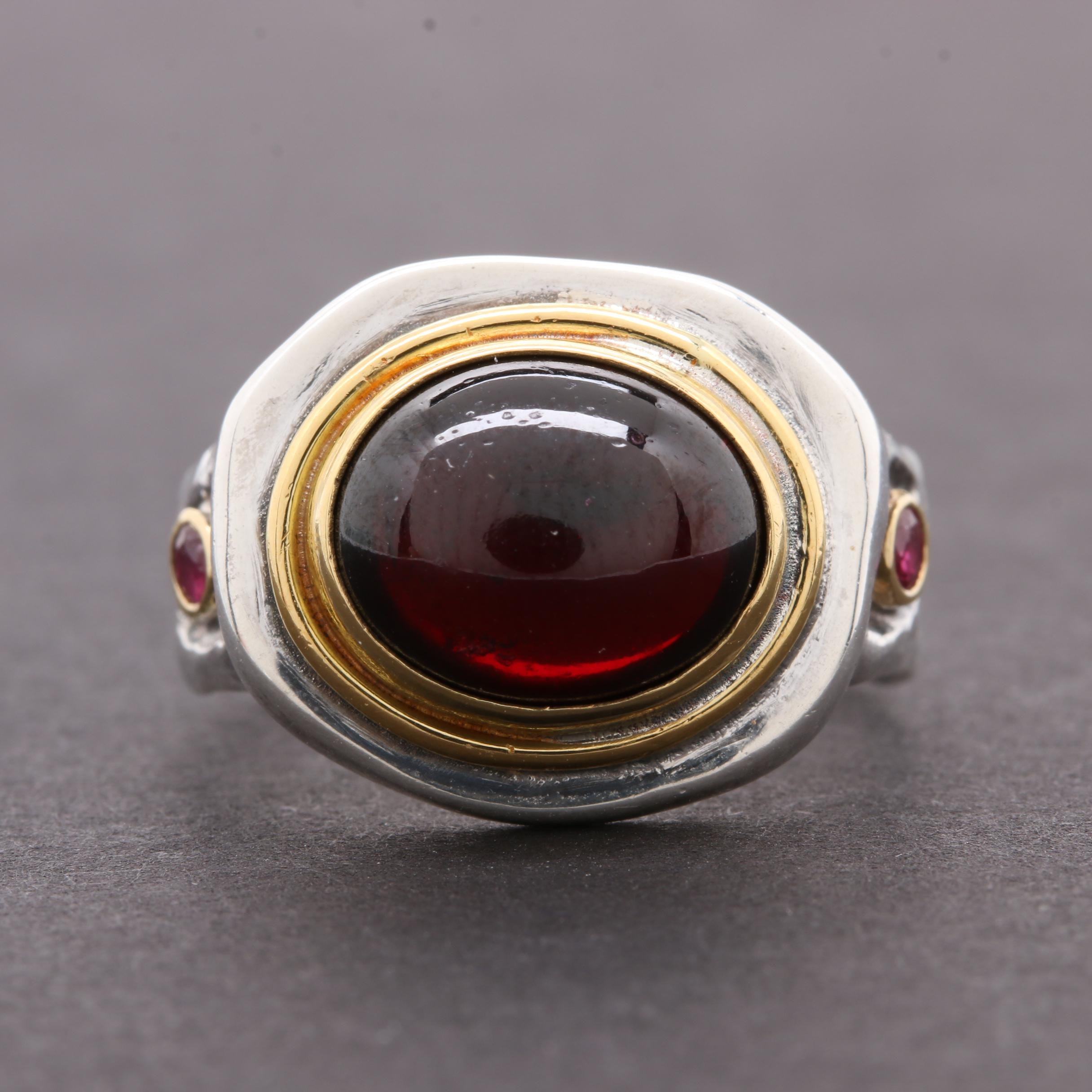 Konstantino Sterling Silver Garnet and Ruby Ring with 18K and 22K Gold Accents