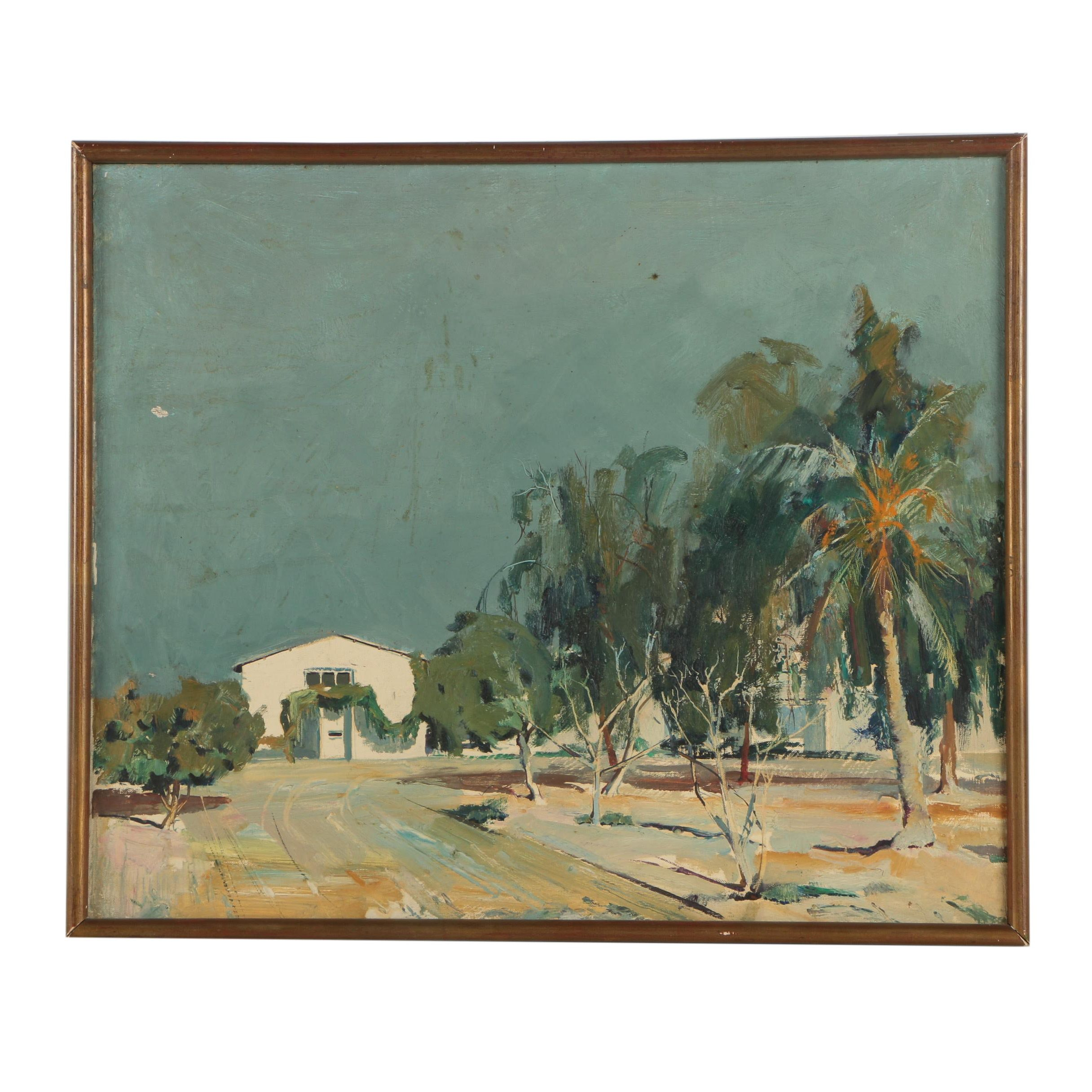 Jacques Rommel French Oil on Painting of a Desert Landscape