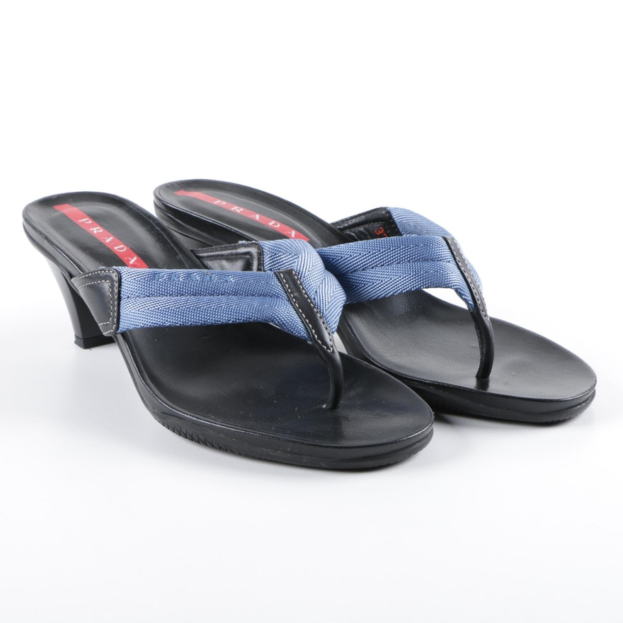 1473b6e57 Prada High-Heeled Blue Nylon and Black Leather Thong Sandals