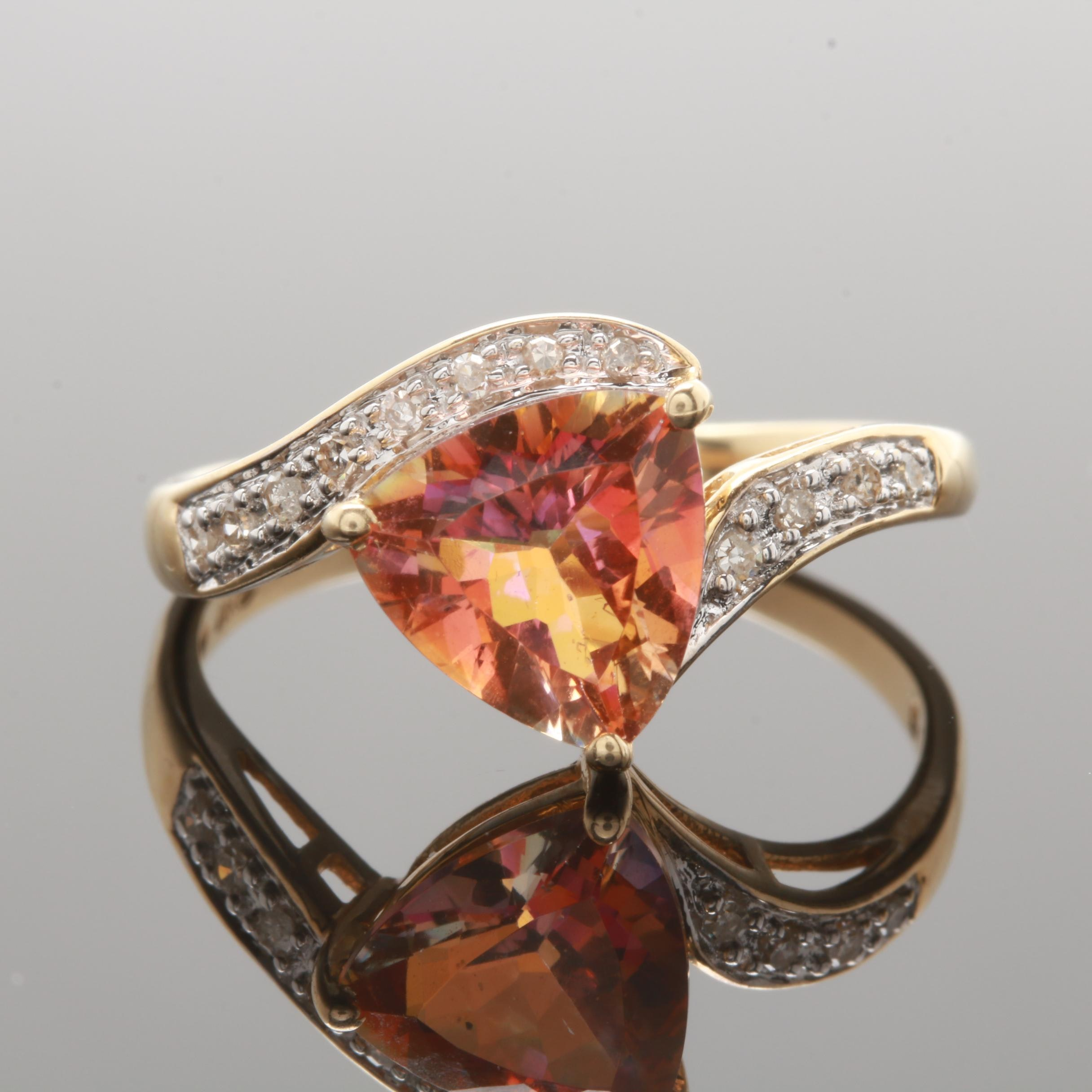14K Yellow Gold Mystic Topaz and Diamond Ring