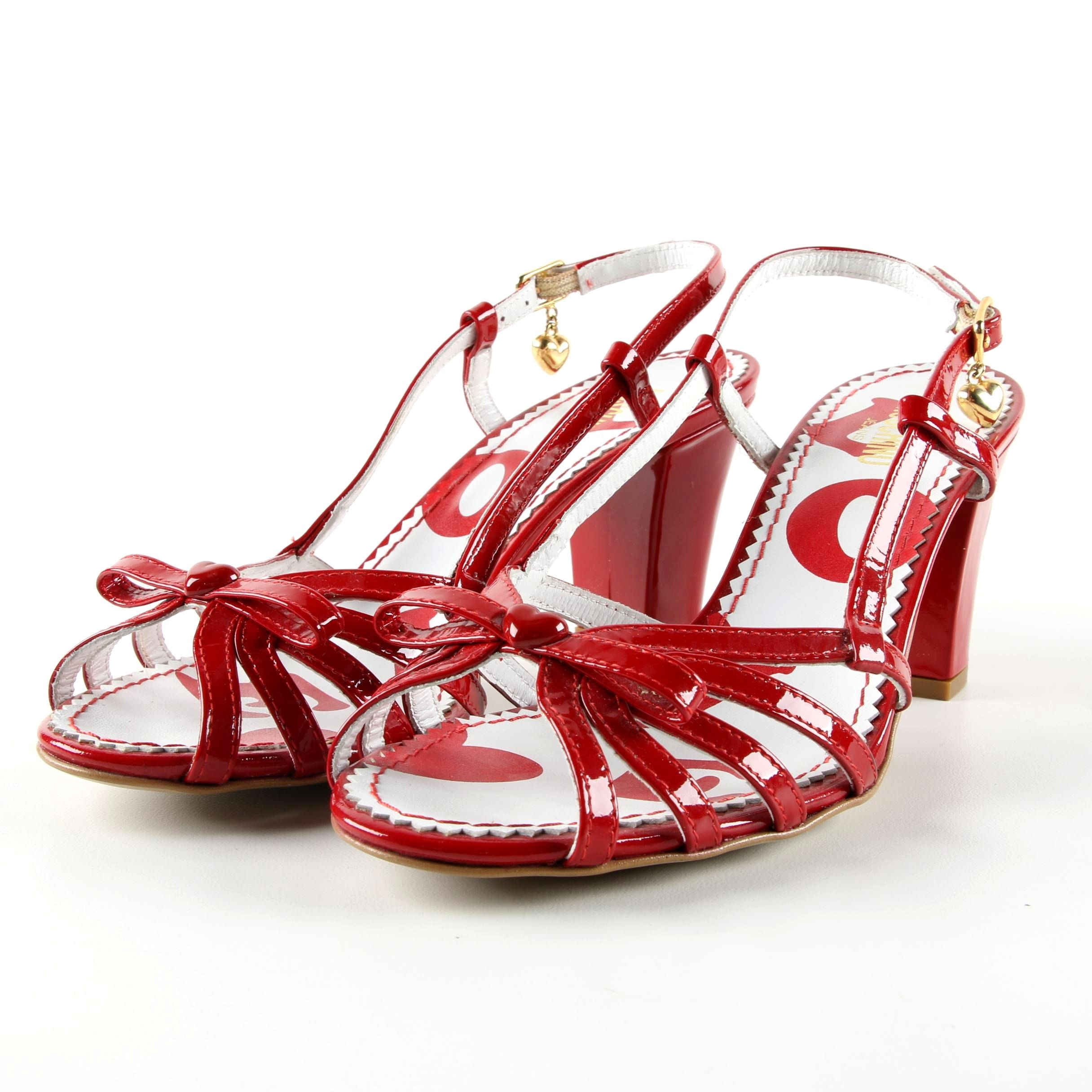 Moschino Jeans Red Patent Leather High-Heeled Dress Sandals