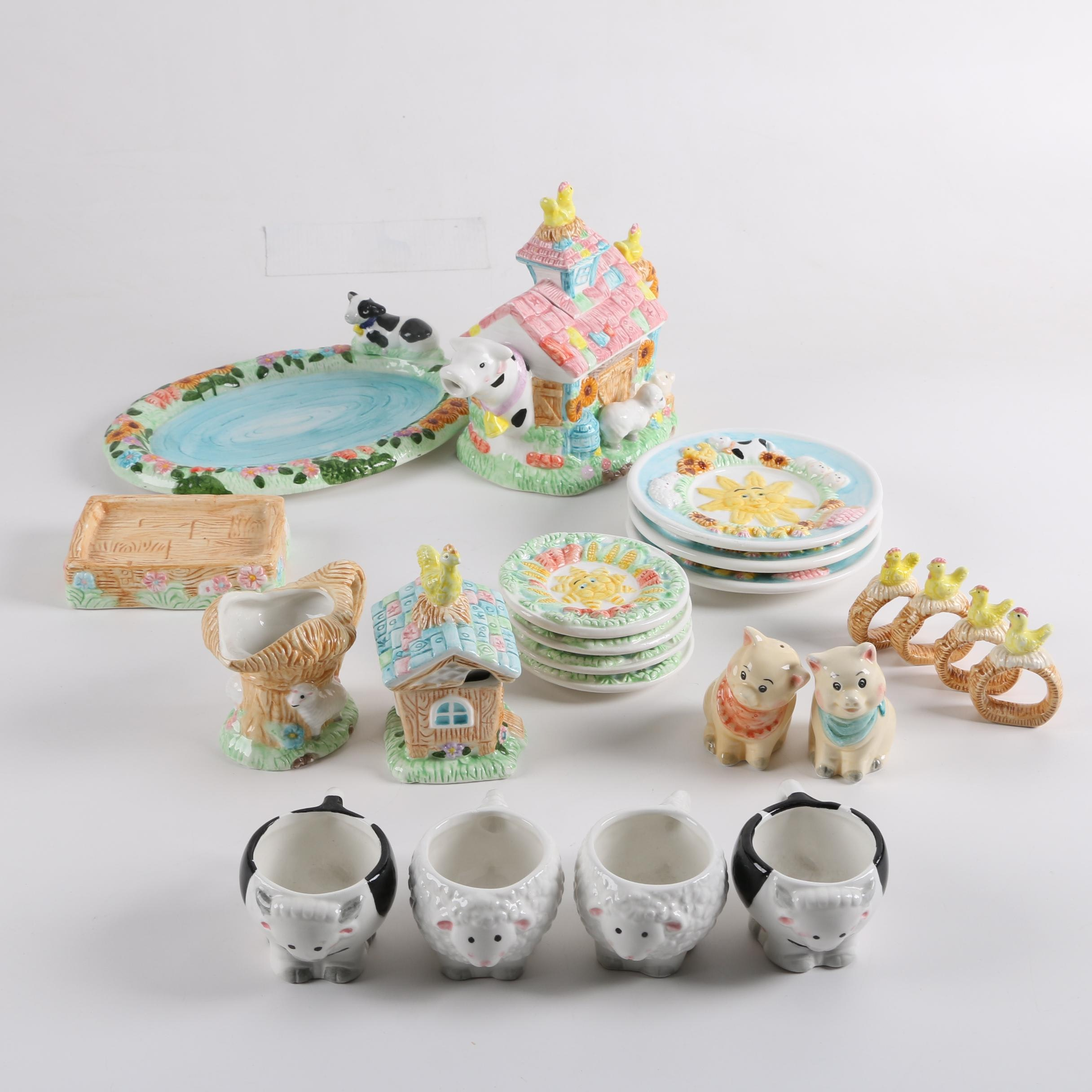 Farm Animal Themed Ceramic Tea Service