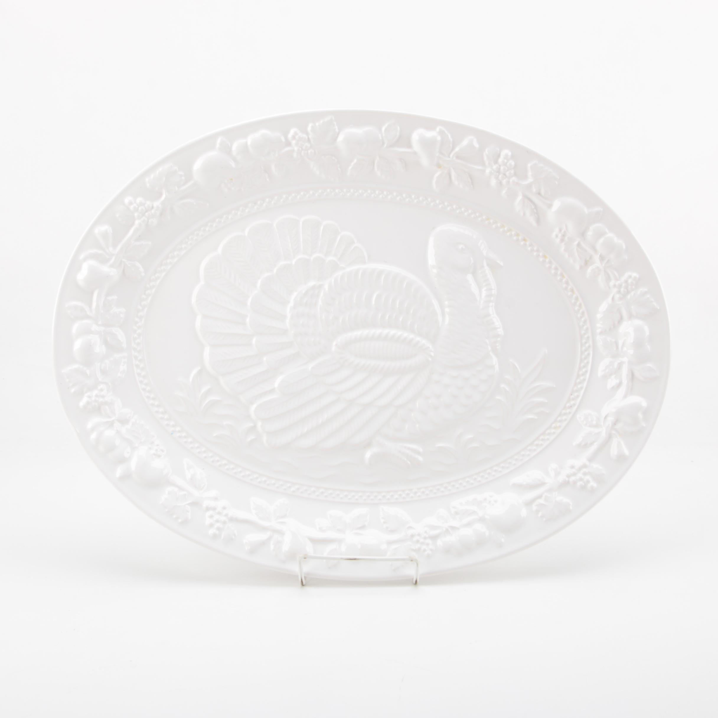 White Ceramic Embossed Turkey Platter Made in Portugal