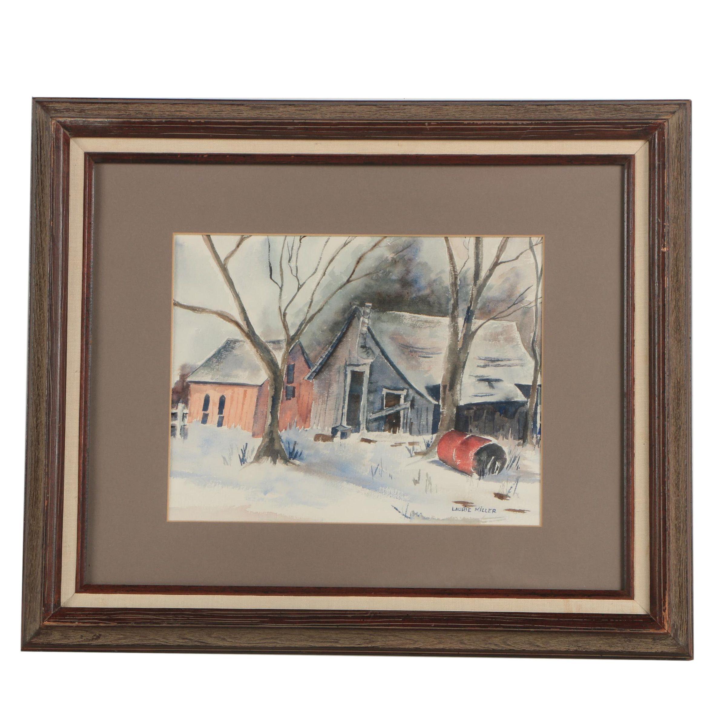 Laurie Miller Watercolor Painting of Rural Home
