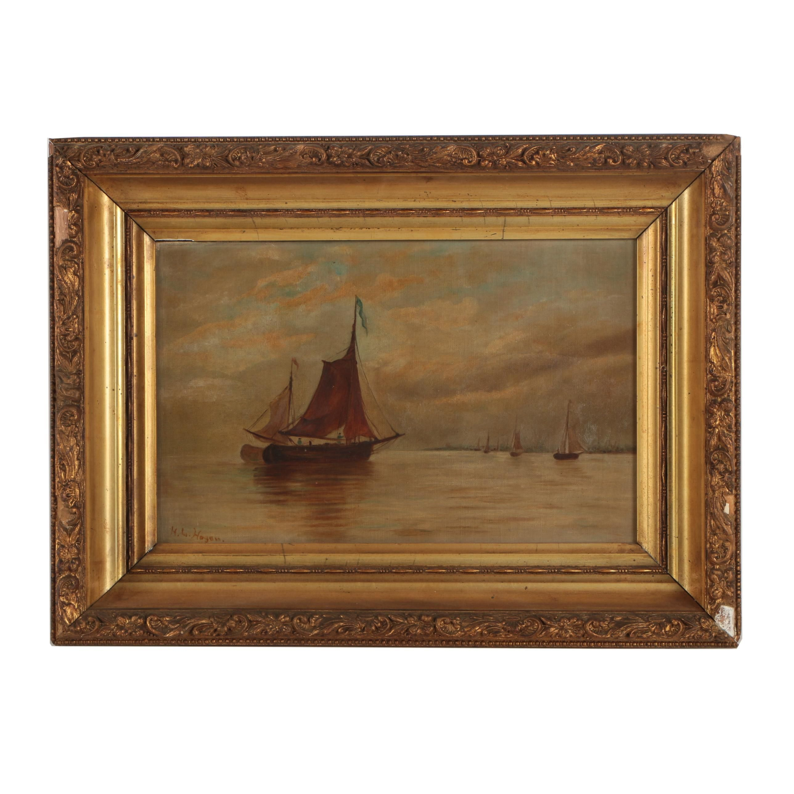 Antique 19th-Century H.L. Hogan Oil Painting of Ship at Sea