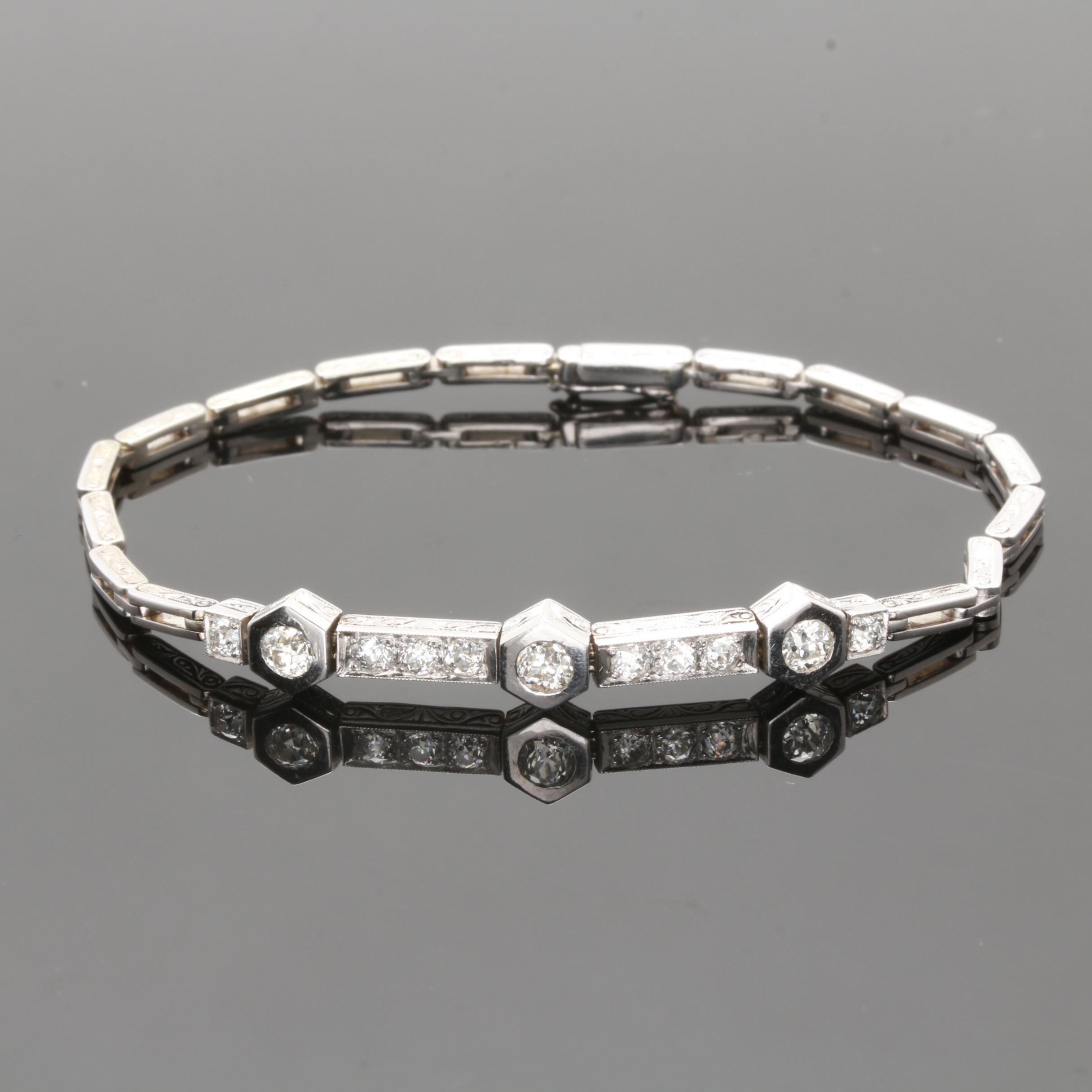 Vintage 14K White Gold Diamond Bracelet