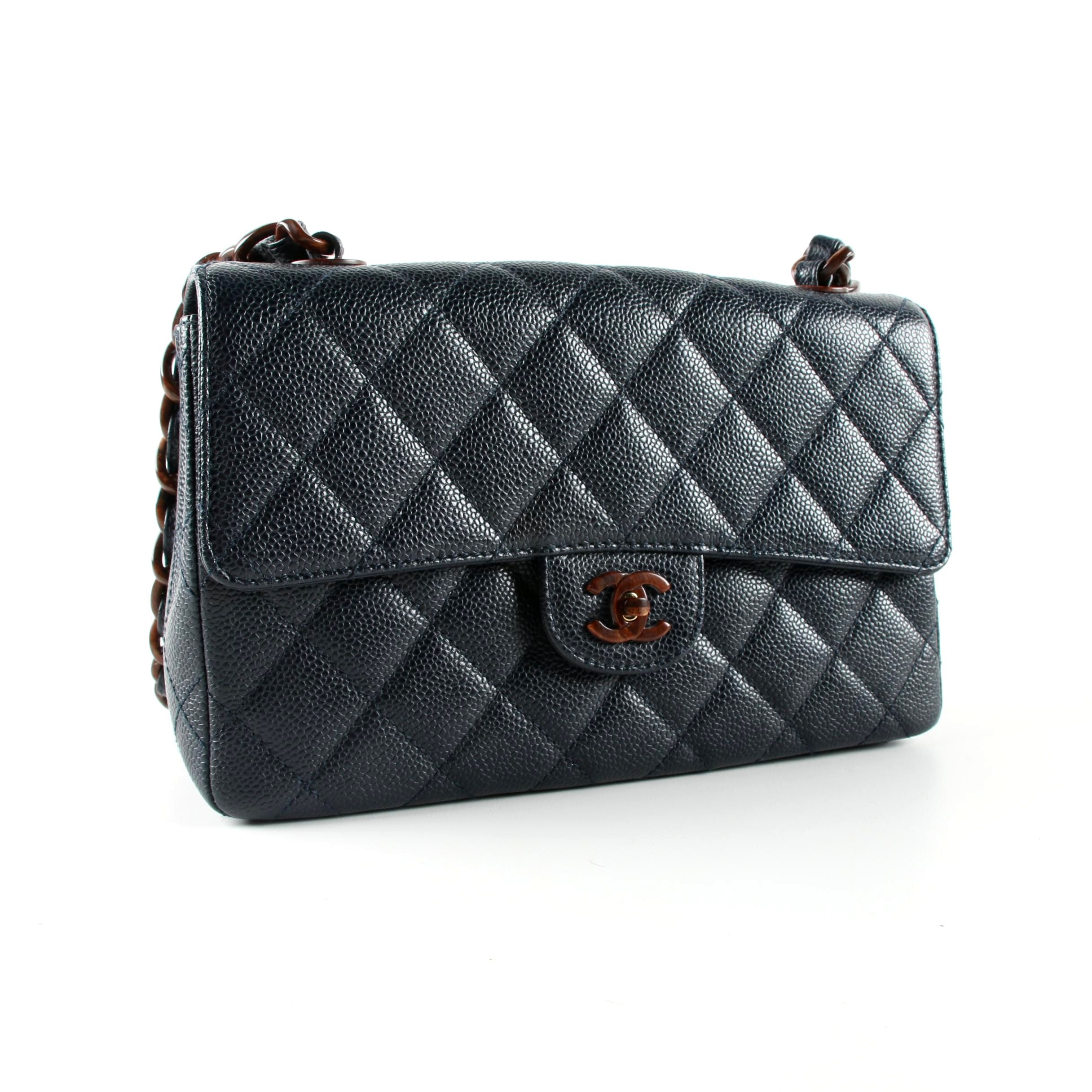 Chanel Navy Caviar Leather and Wood Chain Bag