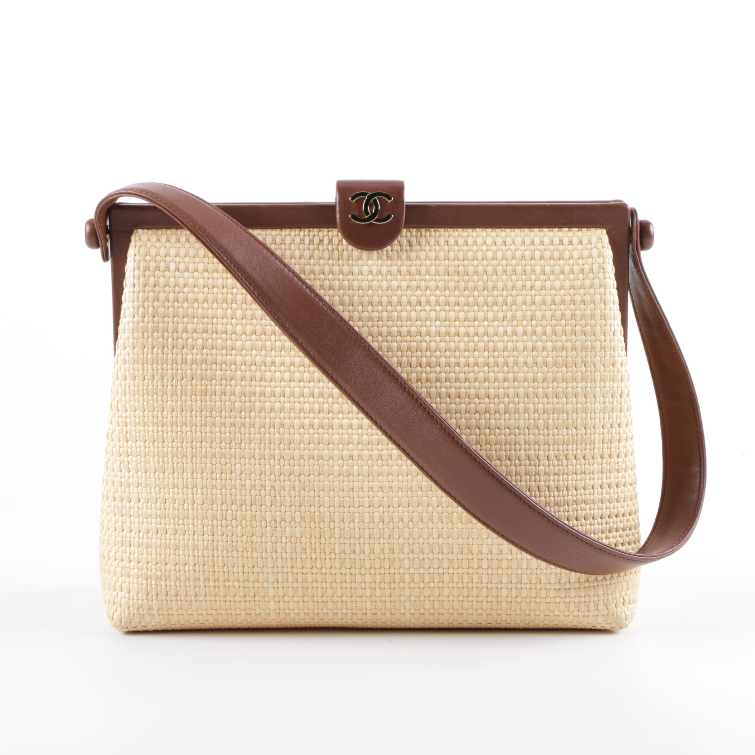 Chanel Woven Straw Handbag with Brown Leather Trim