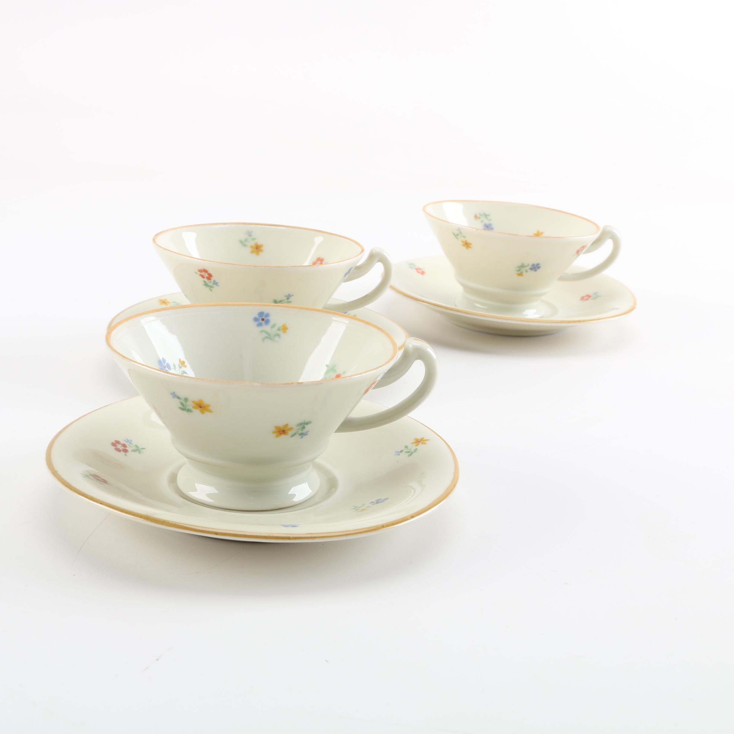 Vintage AL-KA Porcelain Demitasse Cups and Saucers