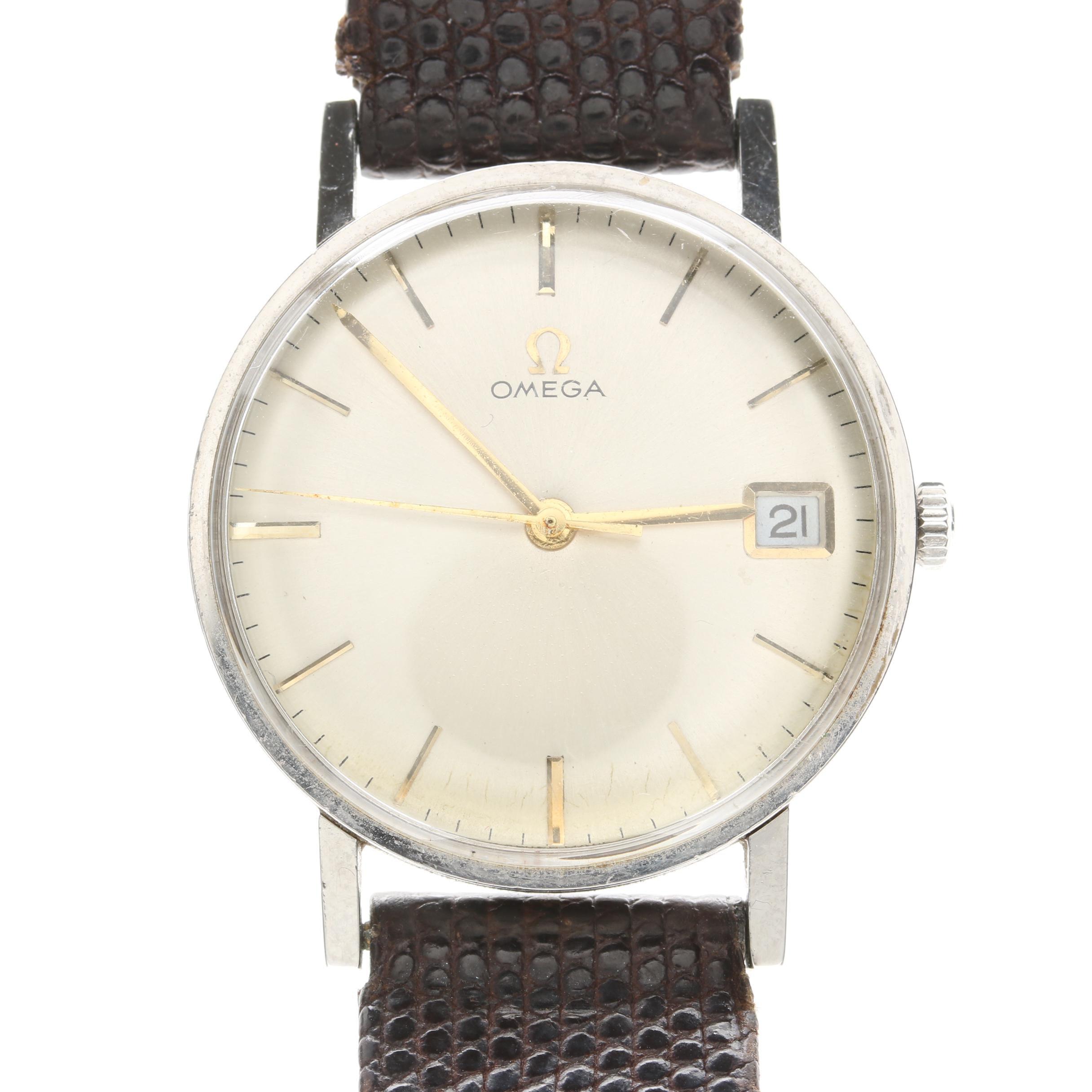 Circa 1960's Omega Stainless Steel Stem Wind Wristwatch