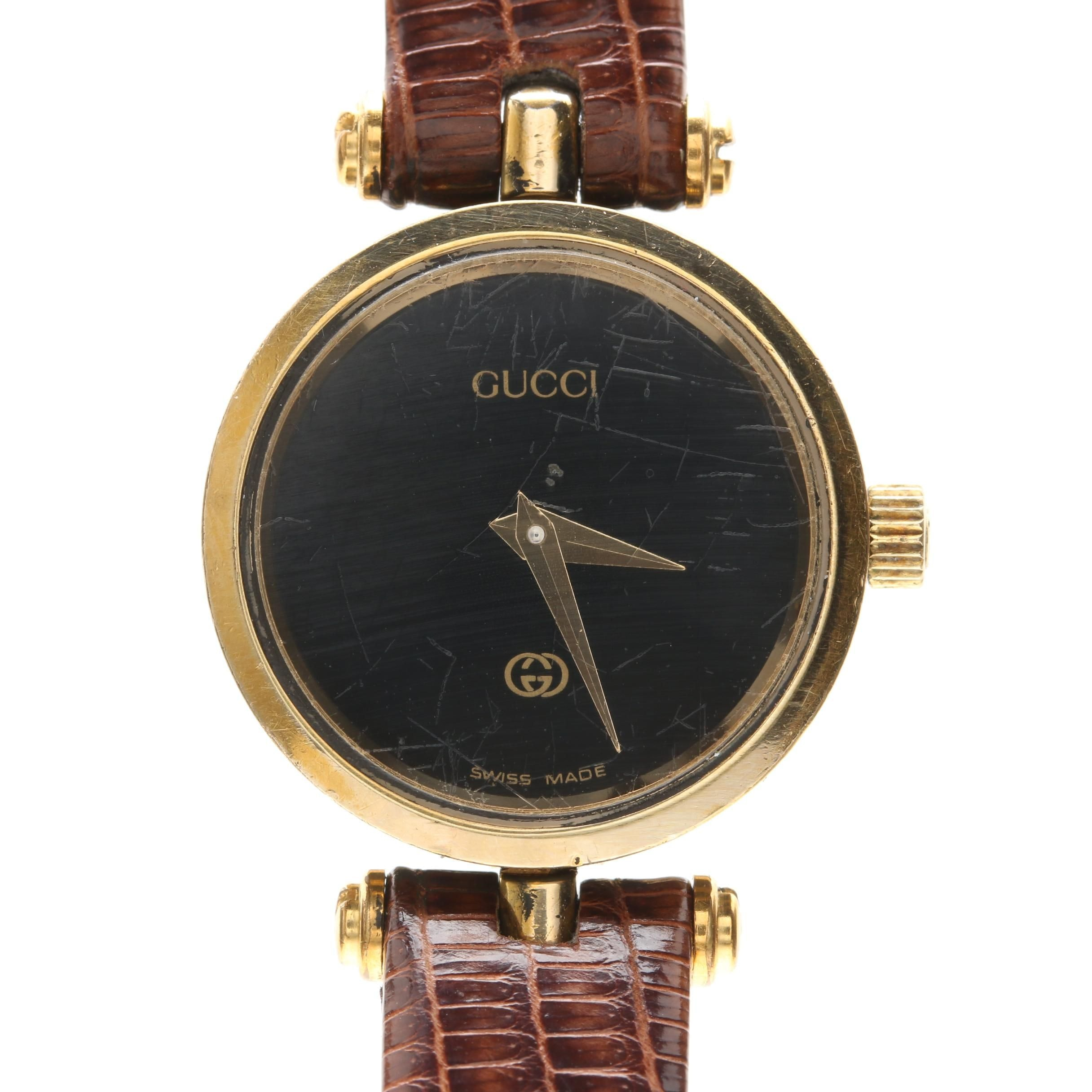 Gucci Gold Plate Enameled Wristwatch