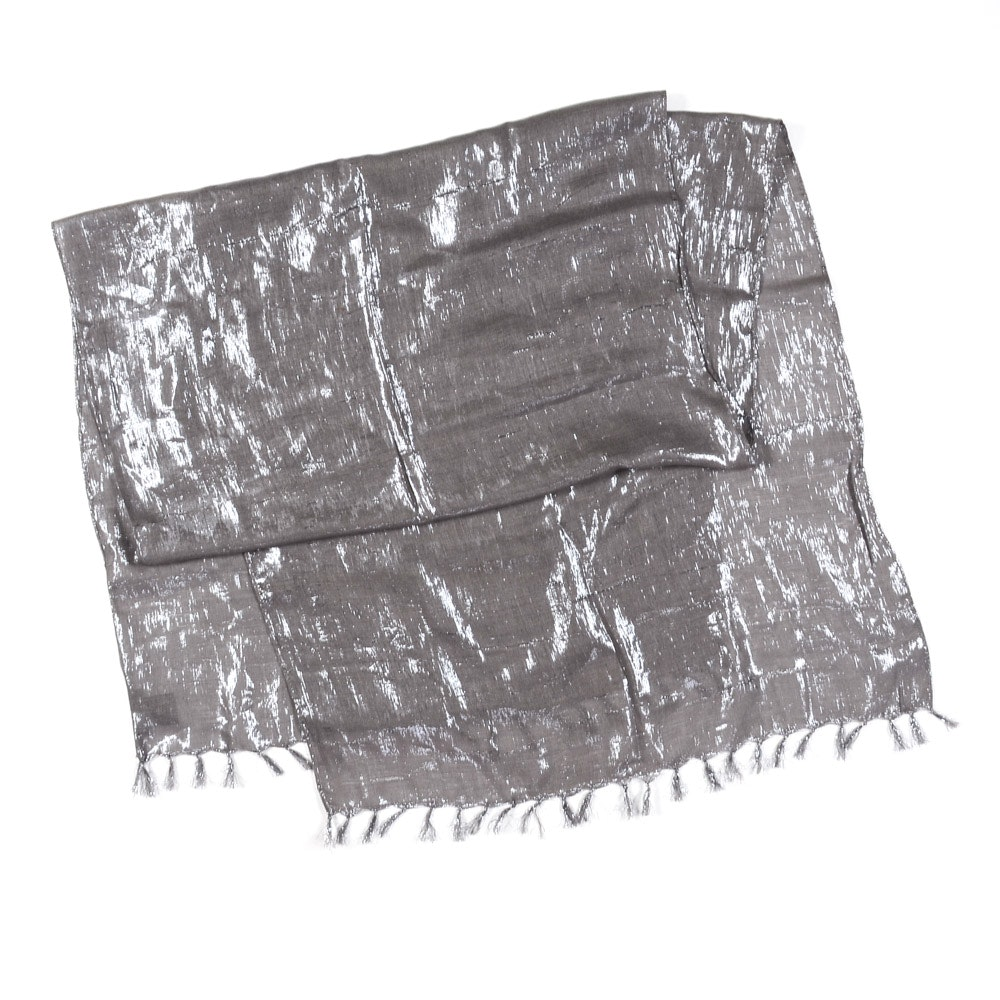 Eileen Fisher Gray Cotton and Metallic Silver Tone Shawl