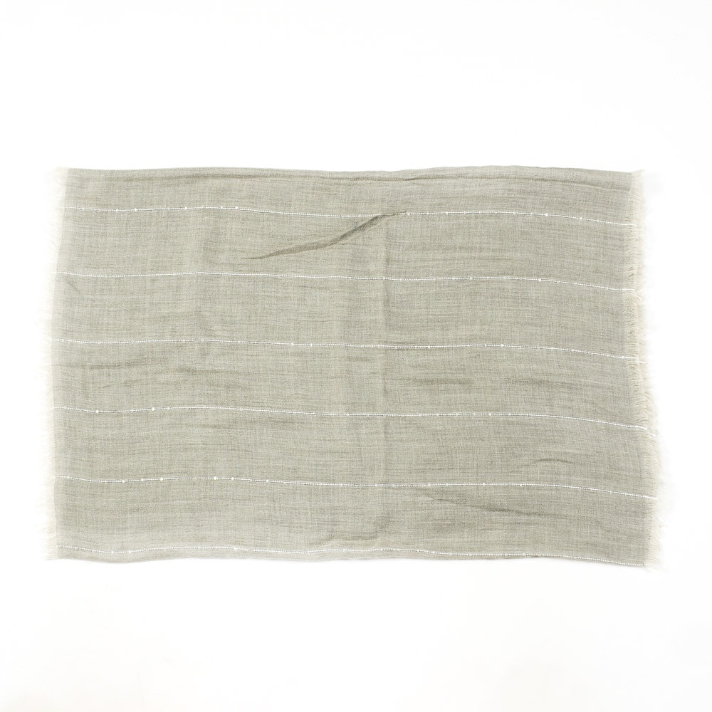 Lafayette 148 Cashmere and Silk Blend Light Gray Scarf With Striped