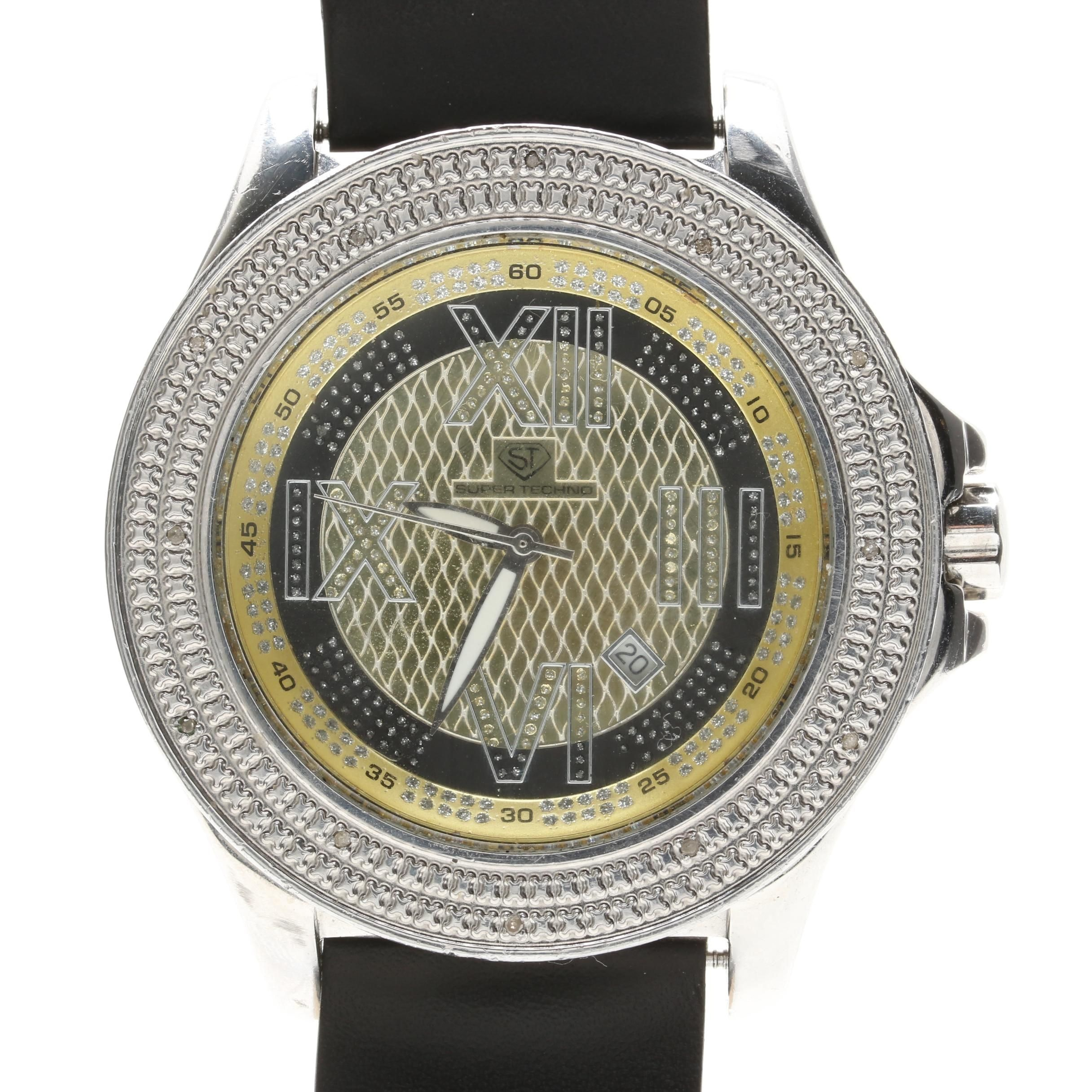 Super Techno Stainless Steel and Diamond Wristwatch