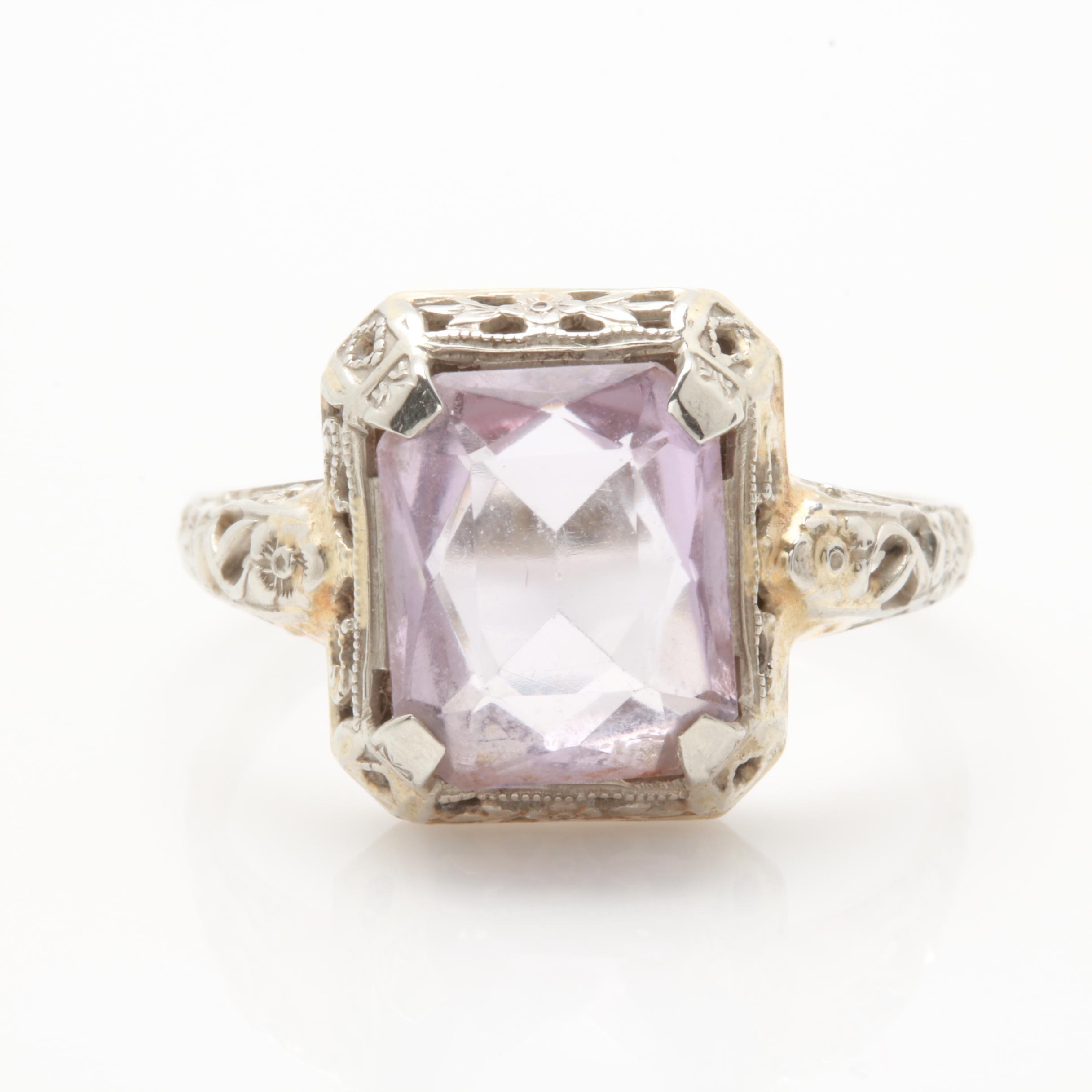 10K White Gold Glass Ring