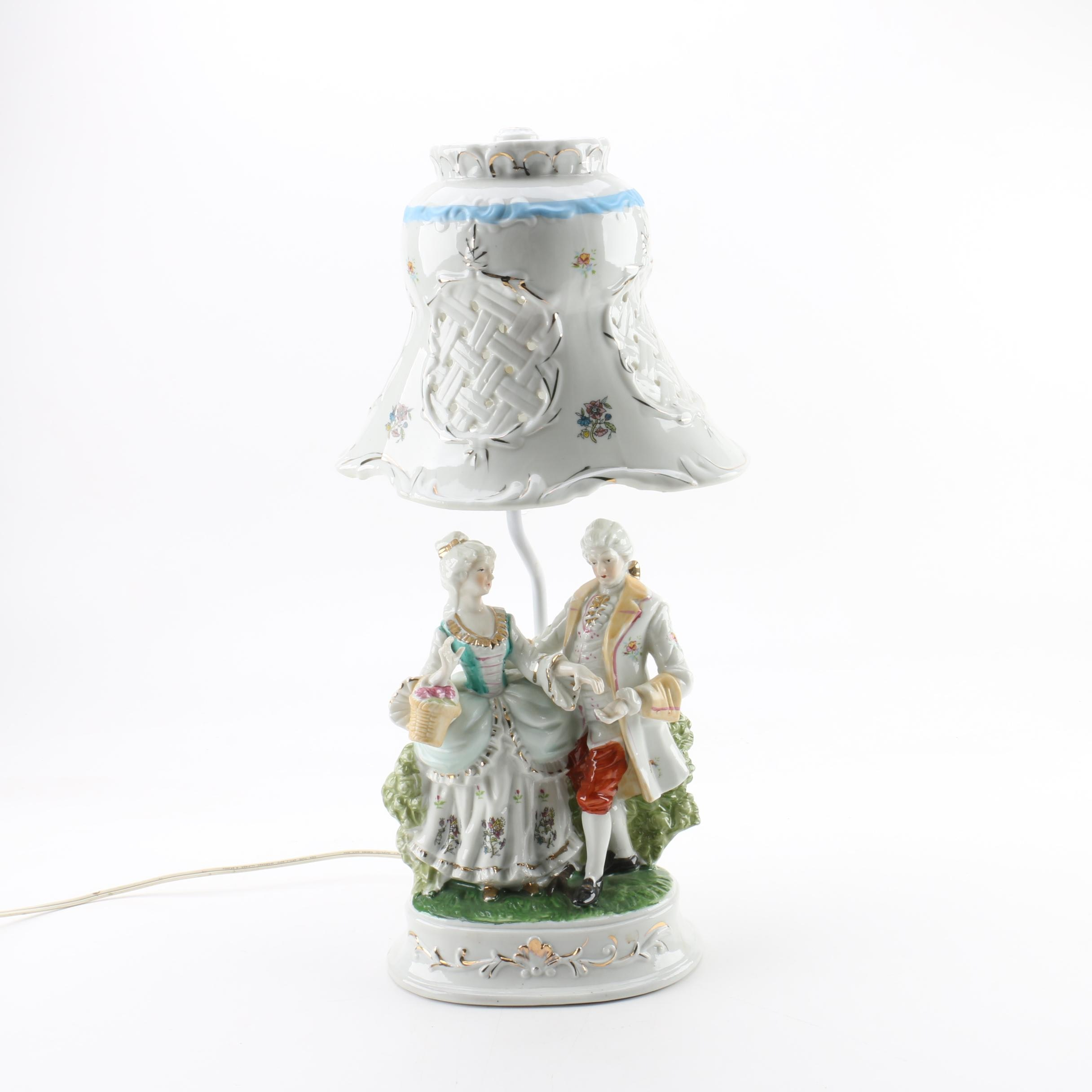 Rococo Style Porcelain Tableau Table Lamp