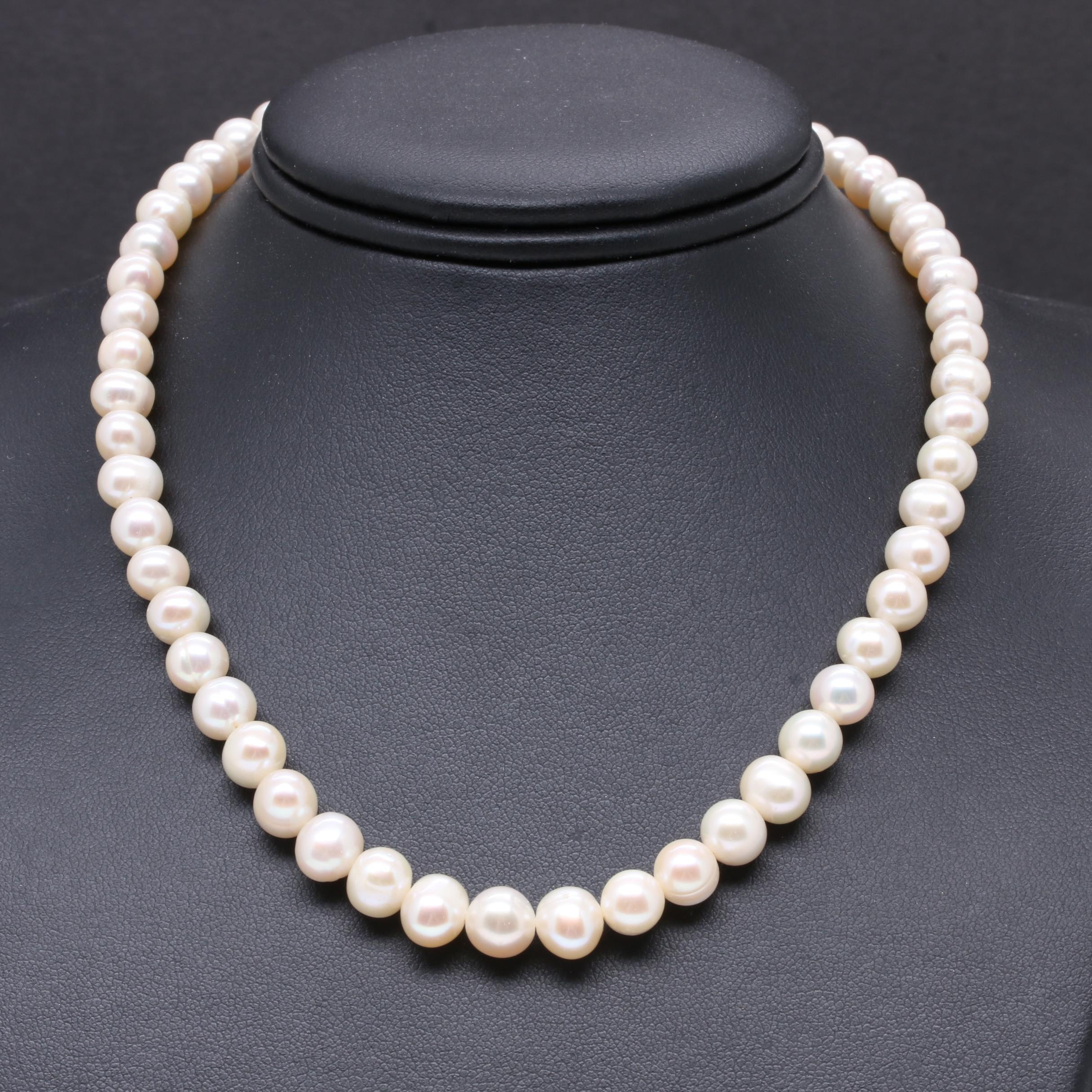 14K Yellow Gold Cultured Pearl Graduated Strand Necklace