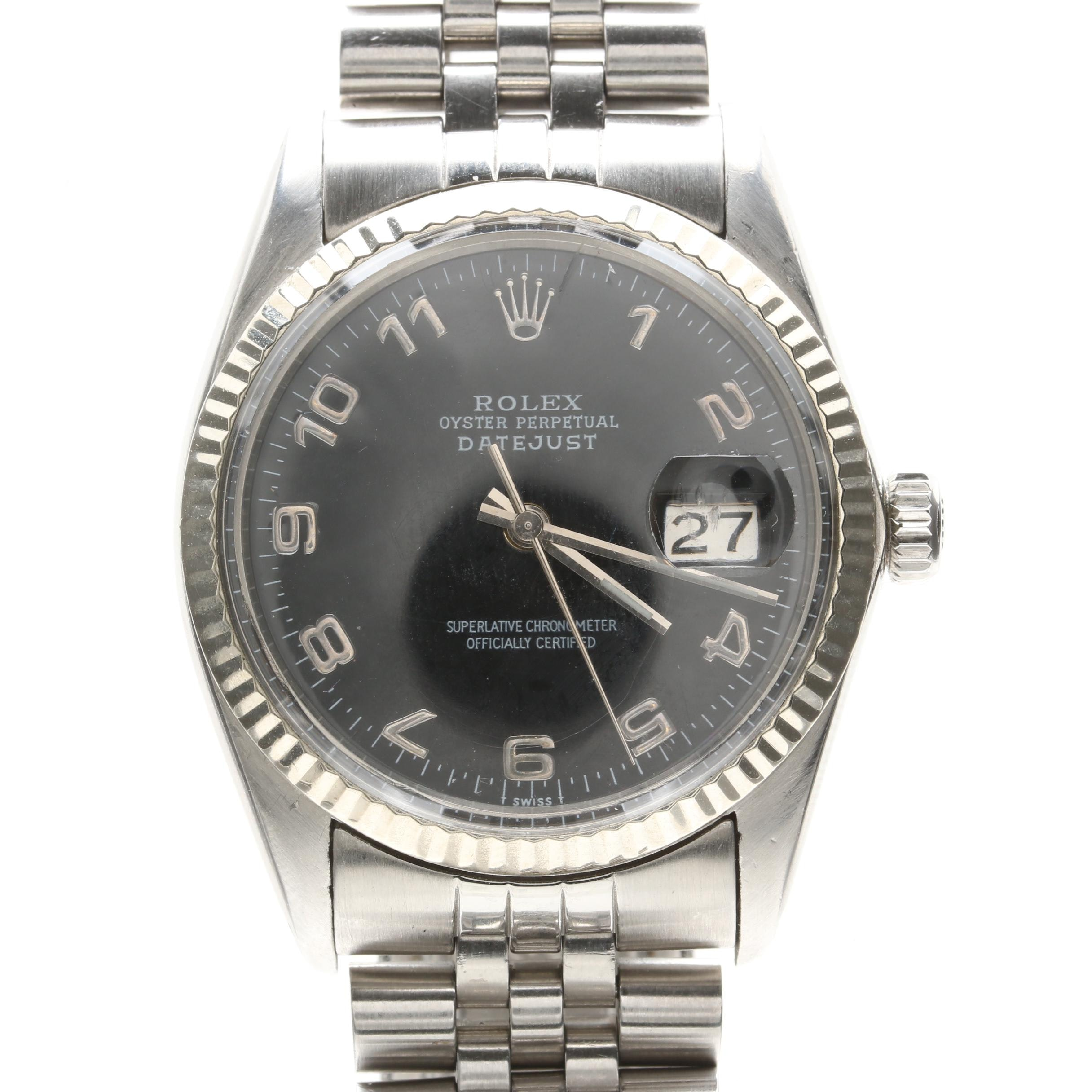 Rolex Oyster Perpetual Datejust Stainless Steel and 18K White Gold Wristwatch