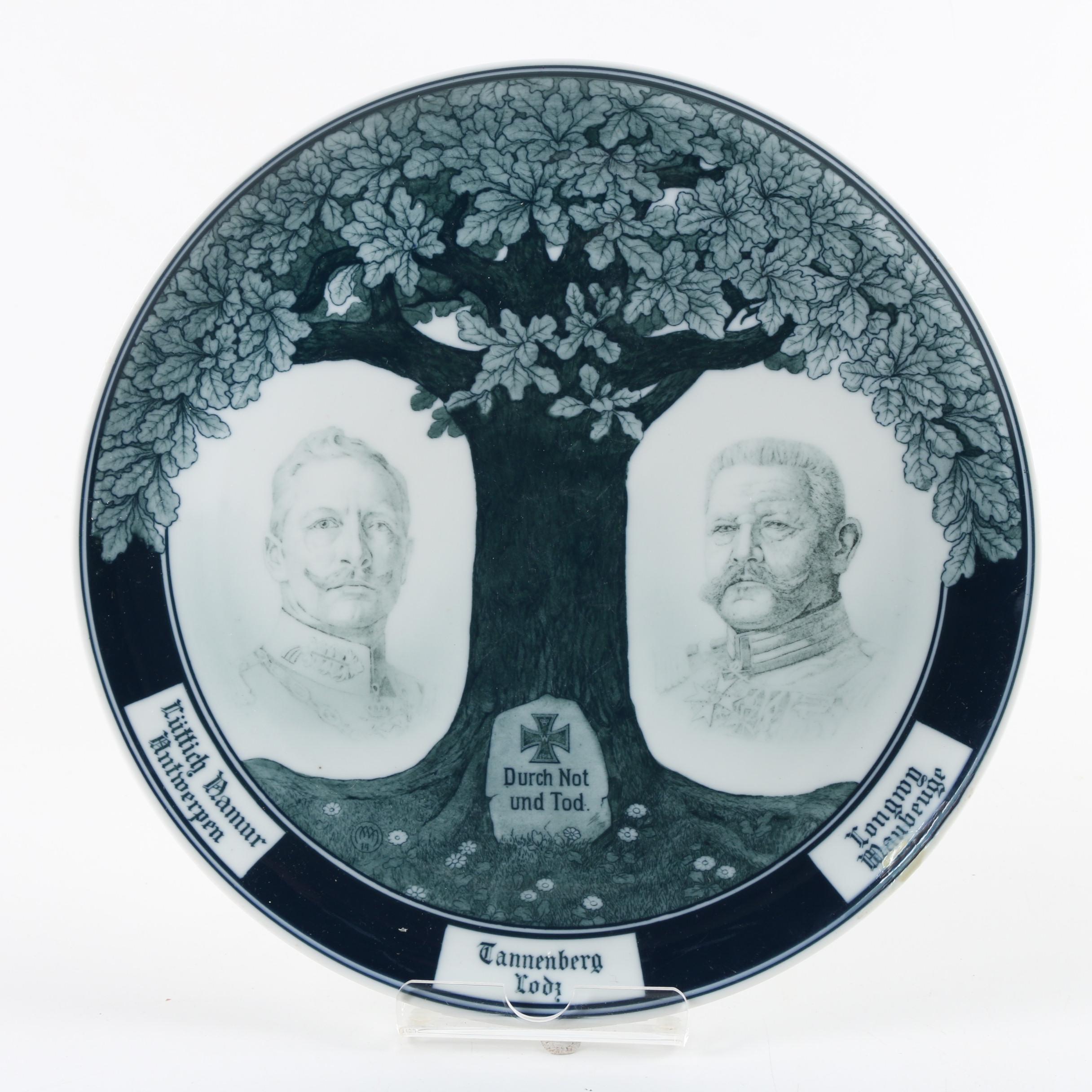"Fraureuth Porcelain ""Durch Not und Tod"" German Plate"